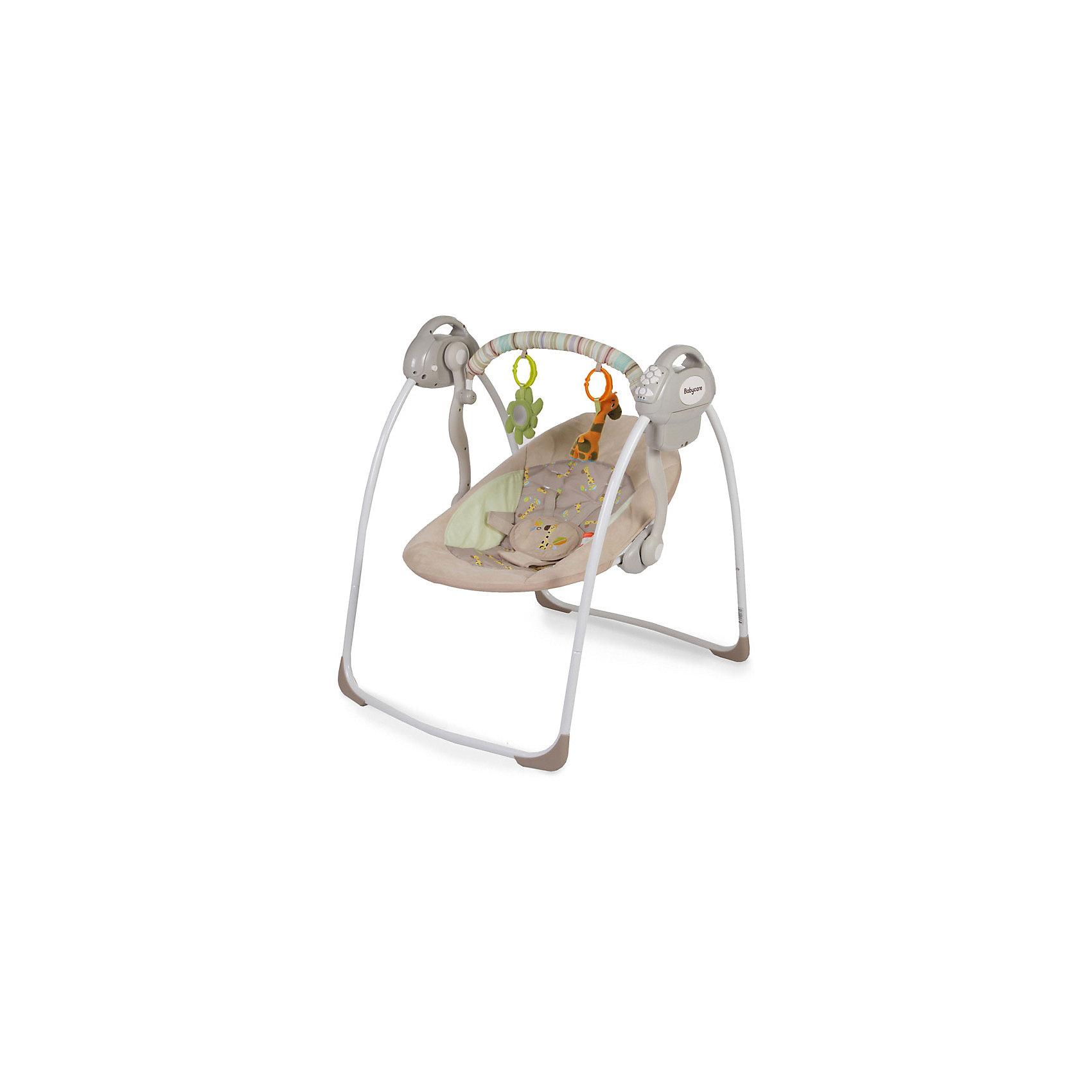 Электрокачели Riva с адаптером, Baby Care, кофейныйОсобенности:• 2 положения спинки;• 5-точеные ремни безопасности;• 6 скоростей укачивания;• 10 мелодий, 3 уровня громкости;•  дуга с игрушками;<br>• обивку сидения можно стирать в холодной воде;• качели легко и компактно складываются;• сетевой адаптер в комплекте.  <br>Характеристики:• Размеры в разложенном виде - 82х63х72 см.• Размеры в сложенном виде - 79х63х24 см.• Расстояние от пола до сидения - 25 см.• Размеры сидения - 66х41 см.• Вес - 4,5 кг.• Рекомендовано для детей c рождения до 6 месяцев (весом до 11 кг).<br><br>Ширина мм: 600<br>Глубина мм: 380<br>Высота мм: 130<br>Вес г: 4500<br>Возраст от месяцев: 3<br>Возраст до месяцев: 6<br>Пол: Унисекс<br>Возраст: Детский<br>SKU: 5493369