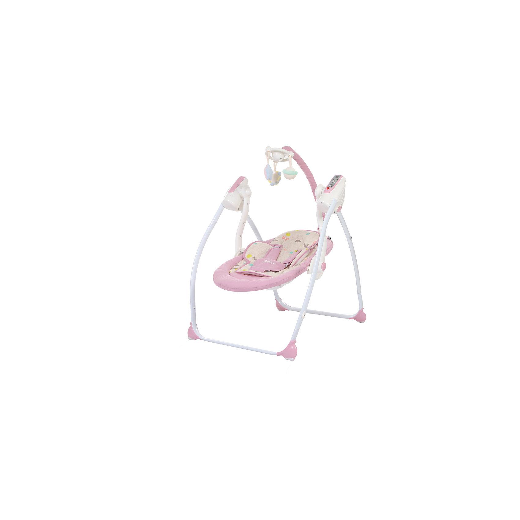 Электрокачели Breeze с адаптером, Jetem, светло-фиолетовыйКачели электронные<br>Характеристики товара:<br><br>• возраст с рождения до 6 месяцев;<br>• максимальный вес ребёнка: 11 кг<br>• материал: алюминий, пластик, резина, текстиль<br>• наклон спинки в 2 положениях, включая лежачее;<br>• электронный блок с 9-ю мелодиями;<br>• индикатор заряда батареи<br>• дуга с подвесными игрушками;<br>• таймер на 10, 20 и 30 минут;<br>• индикатор уровня батареи;<br>• пульт управления работает от 4 батареек тип С (в комплект не входят);<br>• 5-ти точечные ремни безопасности;<br>• съемный чехол сидения<br>• аллюминиевый каркас оснащён резиновыми накладками<br><br>Электрокачели Jetem Breeze помогут убаюкать малыша. 9 колыбельных мелодий в памяти успокоят кроху. Дуга с игрушками станет для него отличным развлечением, он сможет наблюдать за игрушками, рассматривать, хватать их. Электронный блок управляется пультом дистанционного управления. Рама изготовлена из прочного облегченного алюминия. На ножках имеются резиновые накладки, не повреждающие напольное покрытие. Качели легко и компактно складываются для хранения дома или транспортировки. <br><br>Размер в разложенном виде 105х65х70 см<br>Размер в сложенном виде 105х65х25 см<br>Расстояние от пола до сидения 20 см<br>Размеры сидения 70х40 см<br>Вес электрокачелей 4,9 кг<br>Размер упаковки 72х41х17 см<br>Вес упаковки 6 кг<br><br>Комплектация:<br><br>• качели;<br>• дуга с игрушками;<br>• электронный блок;<br>• пульт ДУ;<br>• сетевой адаптер.<br><br>Электрокачели Jetem Breeze с адаптером фиолетовые можно приобрести в нашем интернет-магазине.<br><br>Ширина мм: 720<br>Глубина мм: 410<br>Высота мм: 160<br>Вес г: 6000<br>Возраст от месяцев: 3<br>Возраст до месяцев: 6<br>Пол: Унисекс<br>Возраст: Детский<br>SKU: 5493370