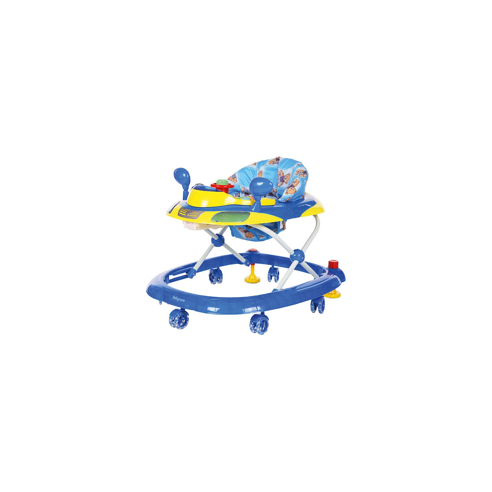 Ходунки Prix, Baby Care, синийХодунки имеют 8 силиконовых колес и мягкое сиденье. Обивка легко и полностью снимается, что очень упрощает стирку. 3 положения по высоте.Ходунки Prix имеют музыкально- игровую панель со световыми эффектами.<br><br>Ширина мм: 660<br>Глубина мм: 570<br>Высота мм: 140<br>Вес г: 3400<br>Возраст от месяцев: 7<br>Возраст до месяцев: 12<br>Пол: Унисекс<br>Возраст: Детский<br>SKU: 5493371