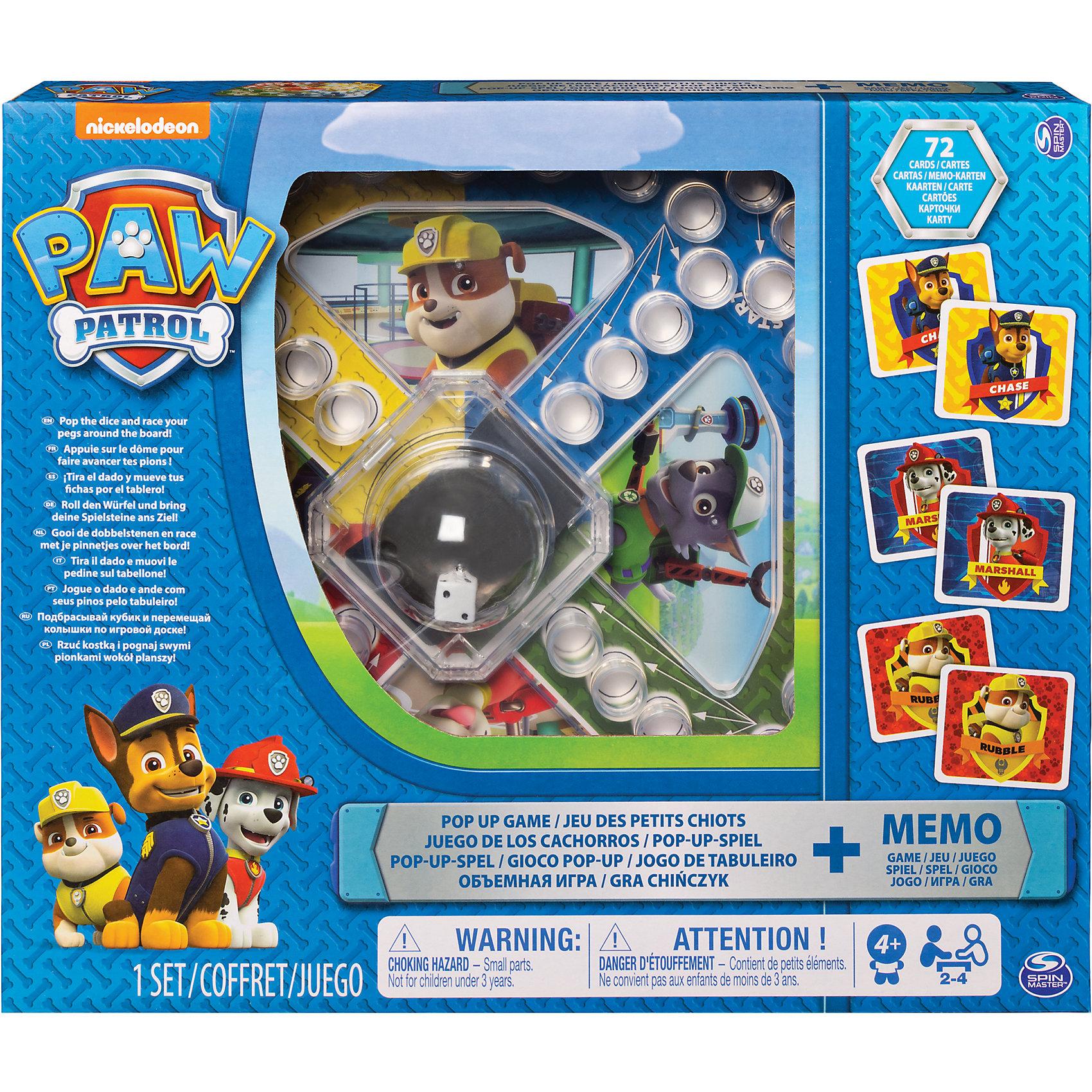 Игра с кубиком, фишками и карточки Memory, Щенячий Патруль, Spin MasterРазвивающие игры<br>Набор игр. Игра с кубиком и фишками - подбрасывай кубик и старайся довести свои фишки до центрального поля первым. 72 карты мемори - потренируй свою память вместе с любимыми героями!<br><br>Ширина мм: 320<br>Глубина мм: 270<br>Высота мм: 50<br>Вес г: 655<br>Возраст от месяцев: 48<br>Возраст до месяцев: 2147483647<br>Пол: Унисекс<br>Возраст: Детский<br>SKU: 5493556
