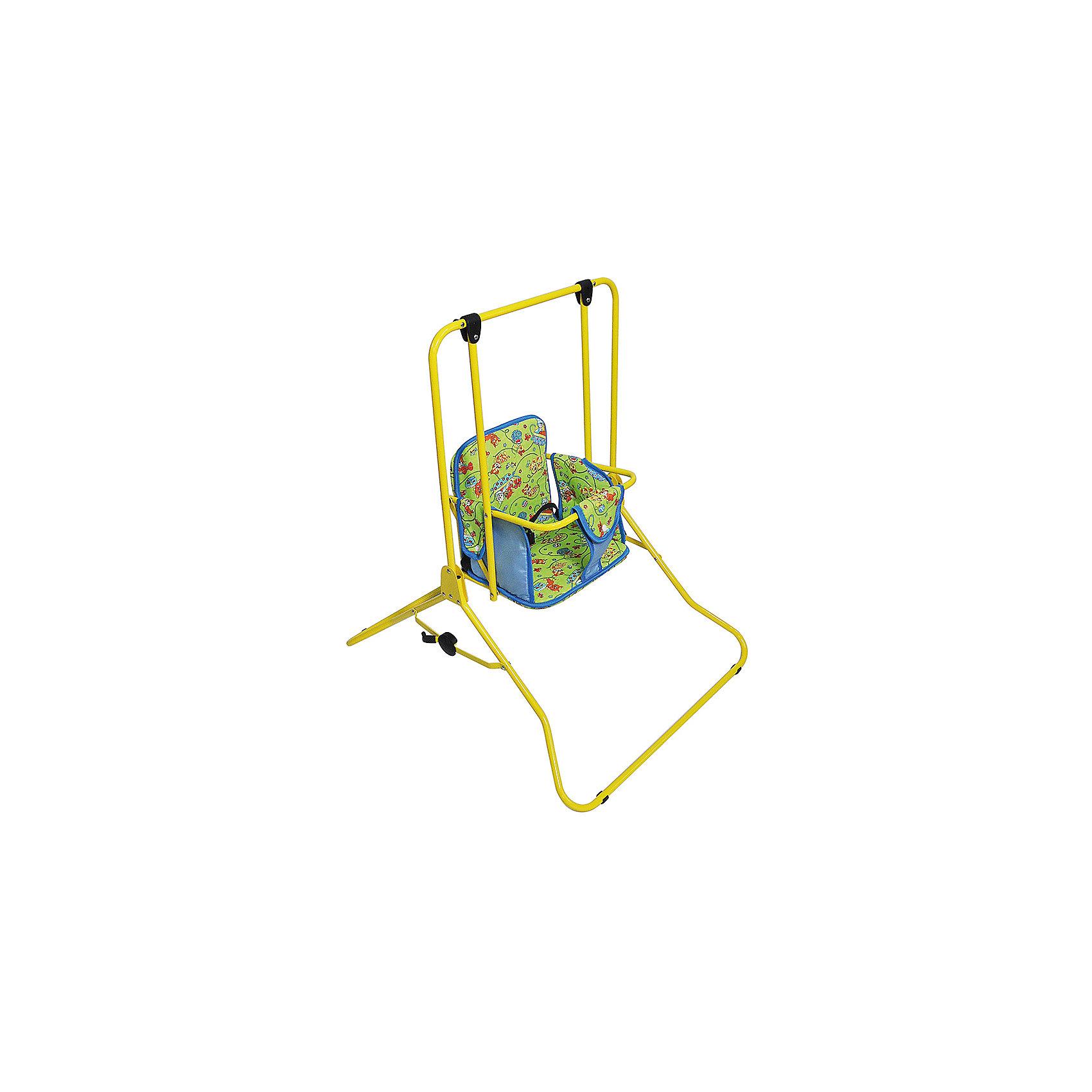 Качели напольные ЕГОРКА, ЛЕО, зеленыйКачели напольные и подвесные<br>Характеристики товара:<br><br>• возраст: от 6 месяцев до 3 лет;<br>• максимальная нагрузка: 20 кг;<br>• материал: пластик, металл;<br>• размер качелей в разложенном виде: 94х85х70 см;<br>• размер качелей в сложенном виде: 112х70х13 см;<br>• вес качелей: 4,4 кг;<br>• размер упаковки: 134х84х22 см;<br>• вес упаковки: 4,6 кг;<br>• страна производитель: Россия.<br><br>Качели напольные Лео Егорка зеленые станут помощником молодых родителей в уходе за ребенком. Покачав малыша на качелях, его можно развлечь, развеселить, отвлечь, а мама может одновременно заниматься домашними делами. <br><br>Сидение выполнено из мягкого материала и украшено ярким изображением. За безопасность отвечает поручень с ограничителем между ножек и ремешок на сидении. Конструкция отличается хорошей устойчивостью благодаря широкому основанию и дополнительным опорам.<br><br>Качели легко и быстро складываются для компактного хранения дома. Специальный механизм предотвращает случайное самопроизвольное складывание качелей.<br><br>Качели напольные Лео Егорка зеленые можно приобрести в нашем интернет-магазине.<br><br>Ширина мм: 1340<br>Глубина мм: 840<br>Высота мм: 220<br>Вес г: 4400<br>Возраст от месяцев: -2147483648<br>Возраст до месяцев: 2147483647<br>Пол: Унисекс<br>Возраст: Детский<br>SKU: 5500166