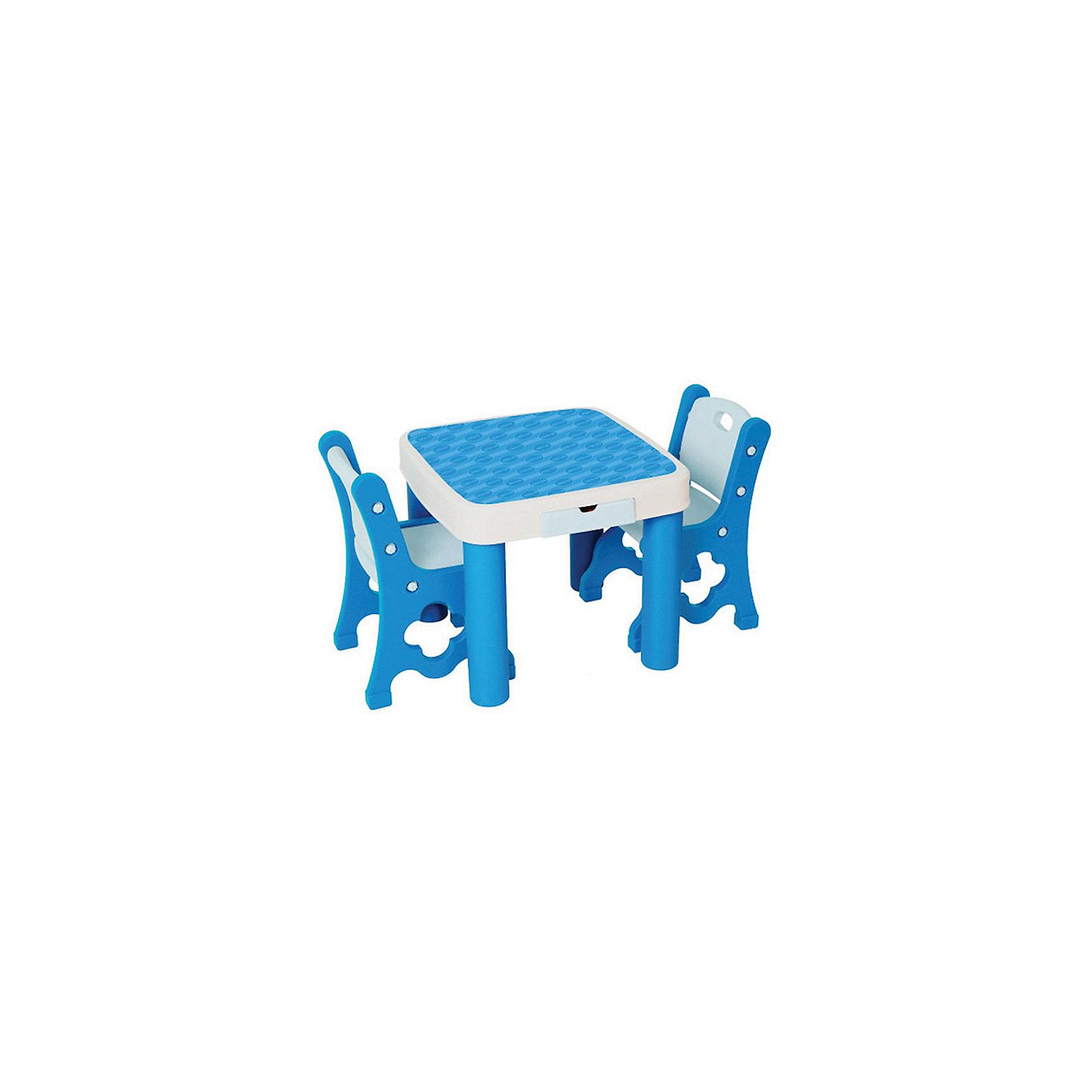 Набор: стол+стул, Eduplay, голубойМебель<br>Характеристики товара:<br><br>• возраст: от 1 года;<br>• материал: пластик;<br>• в комплекте: стол, 2 стула;<br>• размер стола: 52х60х60 см;<br>• размер стула: 34х60х28 см;<br>• размер упаковки: 66,5х63х26,5 см;<br>• вес упаковки: 9,5 кг;<br>• страна производитель: Корея.<br><br>Набор Стол и стул Eduplay голубой — набор из стола и 2 стульев для занятий, игр, рисования. Он также может использоваться и на улице для пикника. На столе имеется небольшой ящик для хранения необходимых вещей. Стол можно сложить для удобного хранения дома. Предметы выполнены из качественного пластика и не имеют острых углов.<br><br>Набор Стол и стул Eduplay голубой можно приобрести в нашем интернет-магазине.<br><br>Ширина мм: 665<br>Глубина мм: 630<br>Высота мм: 265<br>Вес г: 9500<br>Возраст от месяцев: 36<br>Возраст до месяцев: 60<br>Пол: Унисекс<br>Возраст: Детский<br>SKU: 5500240