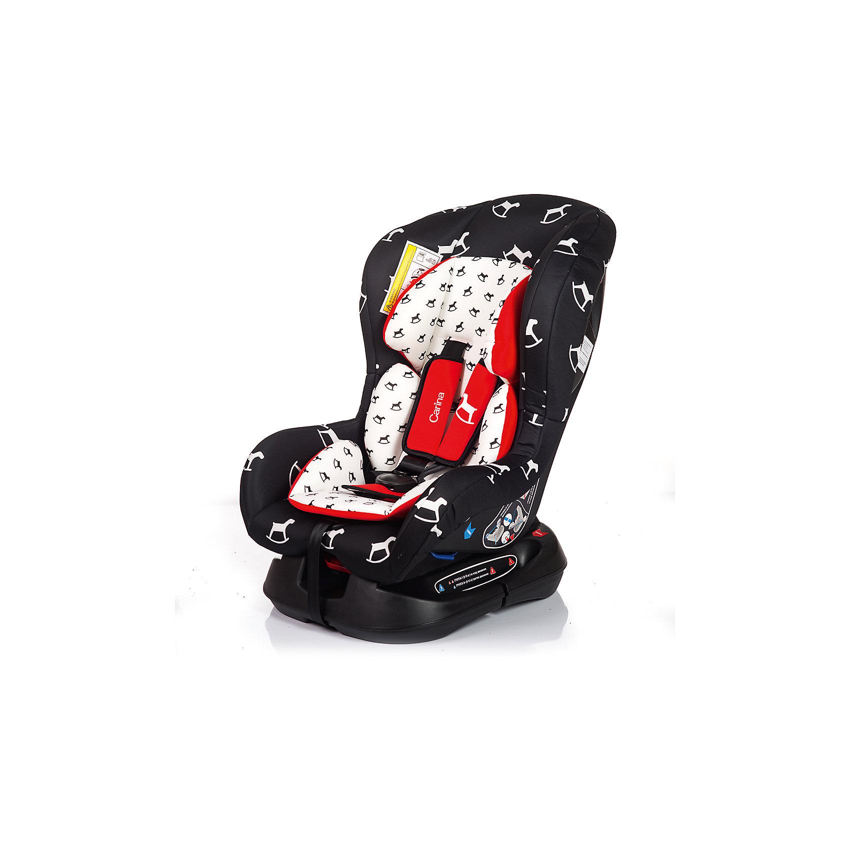 Автокресло CARINA 0-18 кг., Babyhit, чёрно-белая с лошадкамиГруппа 0+/1, для детей весом до 18кг.,Автокресло CARINA - яркое и красивое, и при этом отлично справляется со своей главной задачей - защитой малыша в машине. Крепкая основа и защита головы позволяет с комфортом разместить малыша в автокресле, позаботившись о правильном положении спинки. Чехол легко снимать и стирать, поэтому автокресло легко содержать в чистоте.несколько положений спинки (до полулежа), съемный чехол, мягкий матрасик, 5-ти точечные ремни безопасности с удерживающей системой, препятствующей их соскальзывание с плеч ребёнка,При весе ребенка от 9 до 18 кг. используется лицевой стороной по ходу движения автомобиля; при весе ребенка от 0 до 13 кг. используется спиной к движению автомобиля. соответствует Евростандарту безопасности ЕСЕ44/3<br><br>Ширина мм: 600<br>Глубина мм: 450<br>Высота мм: 820<br>Вес г: 7500<br>Возраст от месяцев: 0<br>Возраст до месяцев: 48<br>Пол: Унисекс<br>Возраст: Детский<br>SKU: 5500250