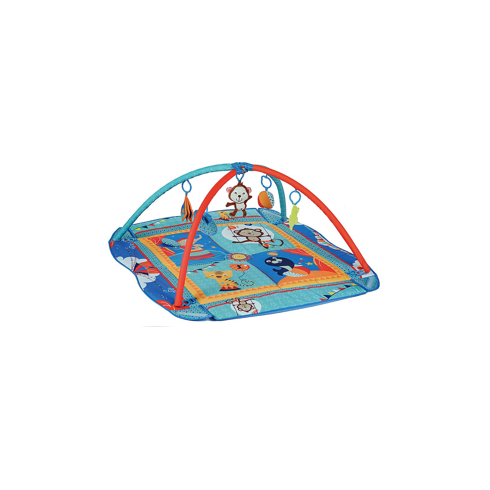 Коврик PM-03, Babyhit, ЦиркРазвивающие коврики<br>Характеристики:<br><br>• игровой коврик для ребенка;<br>• съемные дуги с петельками для подвешивания развивающих игрушек;<br>• наличие бортиков;<br>• подвесные игрушки: безопасное зеркальце, прорезыватель, мягкая музыкальная игрушка обезьянка, книжка-игрушка с шуршащими страничками, погремушка;<br>• материал: текстиль, плюш, пластик;<br>• размер коврика: 115х100х46 см;<br>• размер упаковки: 95х75х55 см;<br>• вес в упаковке: 2,073 кг.<br><br>Игровой коврик с бортиком и дугами для подвесных игрушек оказывает благотворное влияние на развитие малыша с первых дней его жизни. Коврик используется для игры дома, на даче, на лужайке. Мягкое стеганое покрытие коврика дает возможность развить у ребенка тактильное восприятие, игра с развивающими игрушками поможет познать звуковые и зрительные образы. Музыкальная игрушка, погремушка и прорезыватель включены в комплект поставки. Пластиковые карабины предназначены как для игрушек, входящих в комплект, так и для других подвесных игрушек, подвесок и модулей.  <br><br>Коврик PM-03, Babyhit, Цирк можно купить в нашем интернет-магазине.<br><br>Ширина мм: 950<br>Глубина мм: 750<br>Высота мм: 550<br>Вес г: 2073<br>Возраст от месяцев: 0<br>Возраст до месяцев: 6<br>Пол: Унисекс<br>Возраст: Детский<br>SKU: 5500274