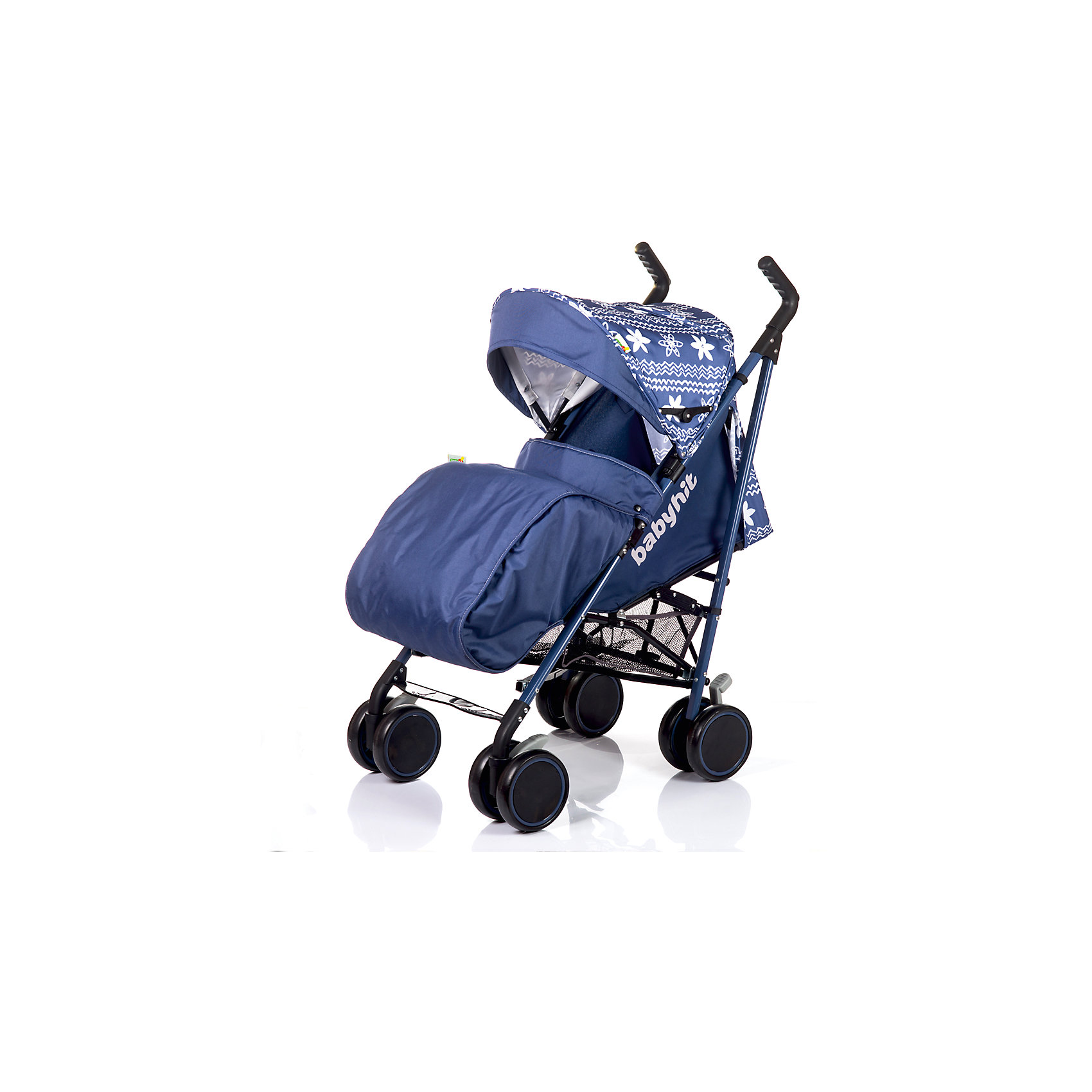 Коляска-трость LUCKY, Babyhit, синий с цветочным орнаментомНедорогие коляски<br>Характеристики коляски-трости:<br><br>• наклон спинки регулируется до горизонтального положения;<br>• подножка регулируется;<br>• система 5-ти точечных ремней безопасности;<br>• имеется защитный бампер с паховым ограничителем;<br>• капюшон-батискаф, опускается до бампера;<br>• капюшон оснащен смотровым окошком и солнцезащитным козырьком;<br>• сзади на капюшоне имеется кармашек для аксессуаров;<br>• ручки коляски отдельные, регулируются по высоте, вращаются на 360 градусов;<br>• колеса сдвоенные, оснащены плавающим механизмом с блокировкой и ножным тормозом;<br>• допустимая нагрузка на корзину для покупок: 3 кг;<br>• тип складывания: трость.<br><br>Вес коляски: 7,5 кг<br>Диаметр колес: 16,5 см<br>Вес в упаковке: 8,5 кг<br><br>Дополнительные аксессуары, входящие в комплект:<br><br>• чехол на ножки;<br>• дождевик;<br>• москитная сетка.<br><br>Коляску-трость LUCKY, Babyhit, синюю с цветочным орнаментом можно купить в нашем интернет-магазине.<br><br>Ширина мм: 340<br>Глубина мм: 300<br>Высота мм: 100<br>Вес г: 8500<br>Возраст от месяцев: 7<br>Возраст до месяцев: 36<br>Пол: Унисекс<br>Возраст: Детский<br>SKU: 5500299