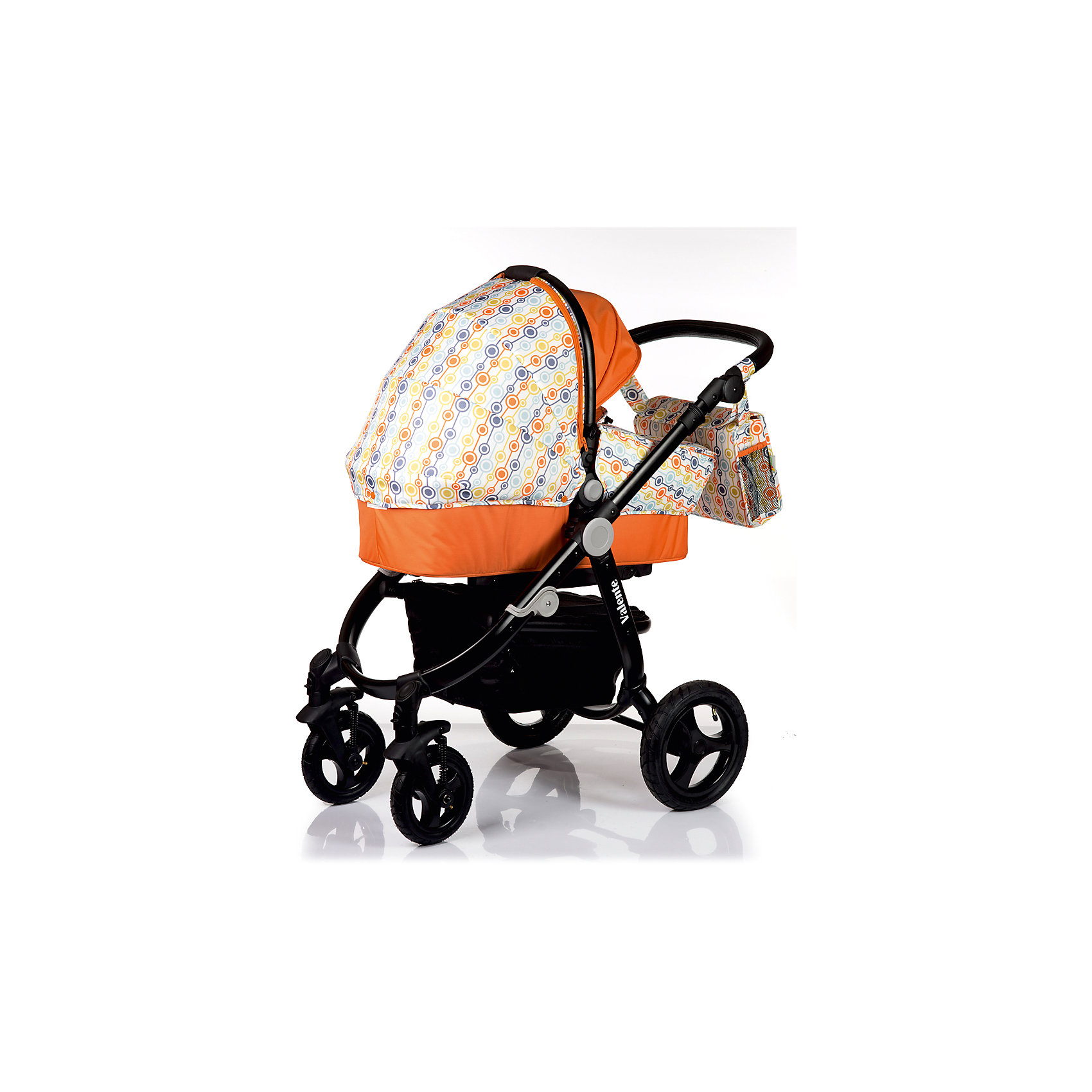 Коляска 2 в 1 BabyHit VALENTE, бело-оранжевыйКоляски 2 в 1<br>Характеристики коляски<br><br>Люлька:<br><br>• хлопковая обивка люльки;<br>• капор оснащен солнцезащитным козырьком;<br>• люлька имеет ручку для переноски;<br>• материал: хлопок, полиэстер, пластик;<br>• размер люльки: 76х34 см;<br>• вес люльки: 3 кг.<br><br>Прогулочный блок:<br><br>• реверсивный прогулочный блок, 2 направления относительно хода движения коляски;<br>• спинка опускается до почти горизонтального положения, угол наклона 170 градусов;<br>• регулируемая подножка, 2 положения;<br>• капюшон-батискаф, опускается почти до бампера;<br>• съемный бампер с тканевым разделителем;<br>• материал: пластик, полиэстер;<br>• длина спального места: 79 см;<br>• ширина сиденья: 33 см;<br>• вес прогулочного блока: 6,5 кг.<br><br>Рама коляски:<br><br>• регулируемая по высоте ручка;<br>• надувные колеса, передние поворотные колеса с блокировкой;<br>• наличие амортизаторов;<br>• тип складывания: книжка;<br>• материал: алюминий, пластик, колеса – ПВХ;<br>• диаметр колес: 20 см, 28 см;<br>• высота ручки: 80-104 см<br><br>Размер коляски: 104х60х115 см<br>Размер коляски в сложенном виде: 86х50х44 см<br>Вес коляски с люлькой: 13,1 кг<br>Вес коляски с прогулочным блоком: 13,1 кг<br>Вес в упаковке: 21 кг<br><br>Дополнительная комплектация:<br><br>• накидка на люльку;<br>• чехол на ножки;<br>• 2 матрасика;<br>• дождевик;<br>• москитная сетка;<br>• сумка для мамы;<br>• насос;<br>• корзина для покупок на молнии;<br>• инструкция.<br><br>Коляску 2 в 1 VALENTE, Babyhit, цвет бело-оранжевый можно купить в нашем интернет-магазине.<br><br>Ширина мм: 500<br>Глубина мм: 440<br>Высота мм: 860<br>Вес г: 21000<br>Возраст от месяцев: 0<br>Возраст до месяцев: 36<br>Пол: Унисекс<br>Возраст: Детский<br>SKU: 5500317