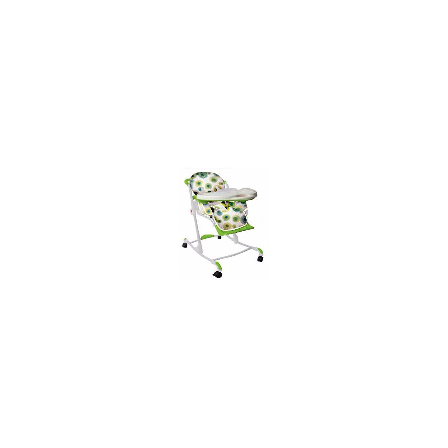 Стульчик для кормления 05Y801, Geoby, зелёный в кружочекСтульчики для кормления<br>Характеристики:<br><br>• стульчик-трансформер: несколько положений в плоскости, несколько положений по высоте, со столиком/без столика, кресло-качалка;<br>• стульчик для кормления оборудован системой 3-х точечных ремней безопасности;<br>• регулируемый угол наклона спинки, 2 положения, сидя и полусидя;<br>• регулируемые наклон подножки и ее высота;<br>• регулируемая высота стульчика для кормления, 6 положений;<br>• съемная столешница с бортиками, дополнительный поднос с тарелочками;<br>• возможность фиксировать посуду на поверхности столешницы;<br>• стульчик оснащен колесиками со стопорами, 4 колеса;<br>• имеется цельная ручка, которая находится за спинкой стульчика и позволяет перемещать стульчик на колесах как коляску;<br>• есть возможность изменить положение опорных ножек стульчика, перевернув крепления с прорезиненными накладками, чтобы они смотрели вниз, а стульчик исполнял роль кресла-качалки;<br>• клеенка-покрытие столика неприхотлива в уходе, ее легко чистить и мыть;<br>• материал: алюминий, пластик, резина, полиэстер.<br><br>Функциональный стульчик для кормления имеет ряд преимуществ. Используется как кресло-качалка, стульчик со столиком для кормления, как детский стульчик приставляется к общему столу. Изменяется положение спинки и подножки, регулируется высота стульчика, варьируется наличие/отсутствие столешницы. Компактно складывается для хранения и транспортировки.  <br><br>Размеры стульчика для кормления: 77х53х105 см<br>Размер упаковки: 77,5х61,5х28 см<br>Вес стульчика: 9,3 кг<br>Вес в упаковке: 11,8 кг<br><br>Стульчик для кормления 05Y801, Geoby, зелёный в кружочек можно купить в нашем интернет-магазине.<br><br>Ширина мм: 615<br>Глубина мм: 280<br>Высота мм: 775<br>Вес г: 11800<br>Возраст от месяцев: 6<br>Возраст до месяцев: 36<br>Пол: Унисекс<br>Возраст: Детский<br>SKU: 5500331