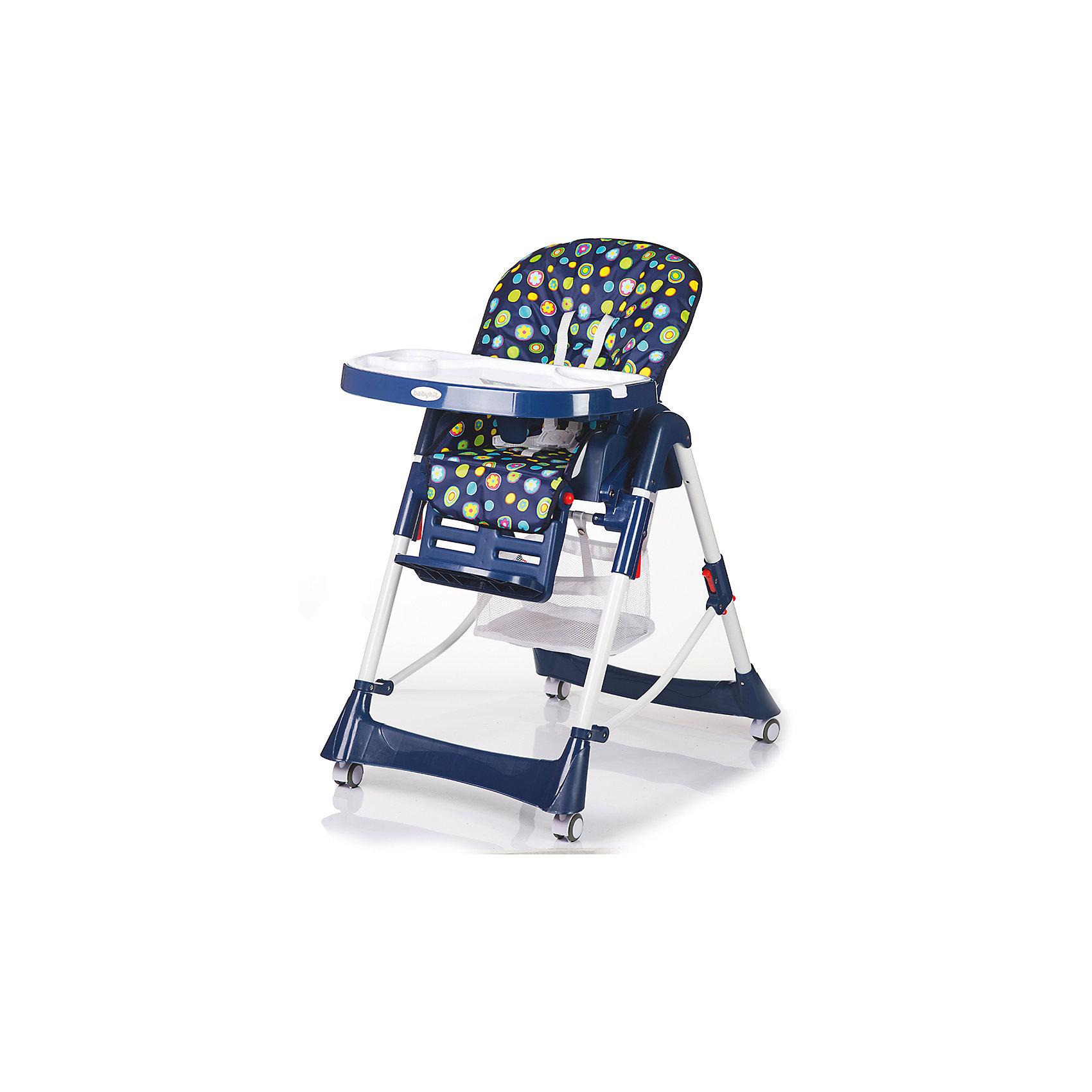 Стульчик для кормления APPETITE, Babyhit, темно-синийот +6 месяцев<br>Характеристики:<br><br>• стульчик для кормления оборудован системой 5-ти точечных ремней безопасности;<br>• стульчик оснащен паховой перегородкой, которая предотвращает соскальзывания малыша вниз;<br>• имеется рама с поперечной перекладиной;<br>• регулируемый угол наклона спинки, 3 положения: сидя, полулежа, лежа;<br>• регулируемая глубина столика, 3 положения;<br>• регулируемая подножка, 2 положения;<br>• регулируемая высота стульчика, 5 положений;<br>• столешница с бортиками, дополнительный поднос с углублениями для тарелок и поильника;<br>• стульчик оснащен колесиками со стопорами, 4 шт.;<br>• внизу расположена сетчатая корзина для игрушек;<br>• мягкий чехол снимается, его можно стирать при температуре 30 градусов;<br>• материал: алюминий, пластик, полиэстер.<br><br>Функциональный стульчик может использоваться для кормления, игр и даже сна. Изменяется наклон спинки почти до горизонтального положения, изменяется угол наклона подножки, удлиняя тем самым спальное место, регулируется высота стульчика. Верхний поднос с углублениями можно снять, а ровную поверхность столика использовать для рисования, настольных игр, пазлов. Стульчик компактно складывается, устойчиво стоит в сложенном виде.  <br><br>Размеры стульчика для кормления: 100х50х55 см<br>Размер упаковки: 49х29х70 см<br>Вес стульчика: 9,4 кг<br>Вес в упаковке: 10,5 кг<br><br>Стульчик для кормления APPETITE, Babyhit, темно-синий можно купить в нашем интернет-магазине.<br><br>Ширина мм: 490<br>Глубина мм: 290<br>Высота мм: 700<br>Вес г: 10500<br>Возраст от месяцев: 6<br>Возраст до месяцев: 36<br>Пол: Унисекс<br>Возраст: Детский<br>SKU: 5500334