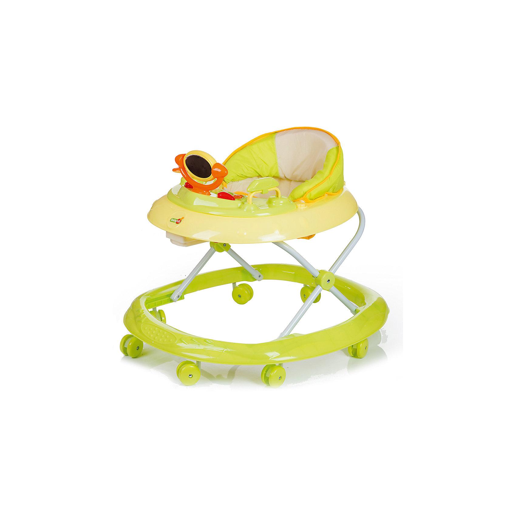 Ходунки BALANCE, Babyhit, зелёныйХодунки<br>Характеристики:<br><br>• устойчивость конструкции;<br>• регулируемая высота ходунков; <br>• сиденье эргономичной формы, наличие спинки;<br>• мягкая подкладка, съемный чехол;<br>• игровая панель с развивающими свето-музыкальными игрушками;<br>• поворотные сдвоенные колесики;<br>• допустимая нагрузка: 12 кг;<br>• размер ходунков: 67х63х52 см;<br>• вес: 3,02 кг.<br><br>Устойчивые ходунки на колесиках позволяют ребенку без труда перемещаться по дому, исследовать окружающий мир. Свобода действия и двигательная активность поможет развить координацию, ориентир в пространстве, стремление к преодолению препятствий. <br><br>Ходунки BALANCE, Babyhit, цвет зеленый можно купить в нашем интернет-магазине.<br><br>Ширина мм: 670<br>Глубина мм: 630<br>Высота мм: 520<br>Вес г: 3020<br>Возраст от месяцев: 6<br>Возраст до месяцев: 18<br>Пол: Унисекс<br>Возраст: Детский<br>SKU: 5500341