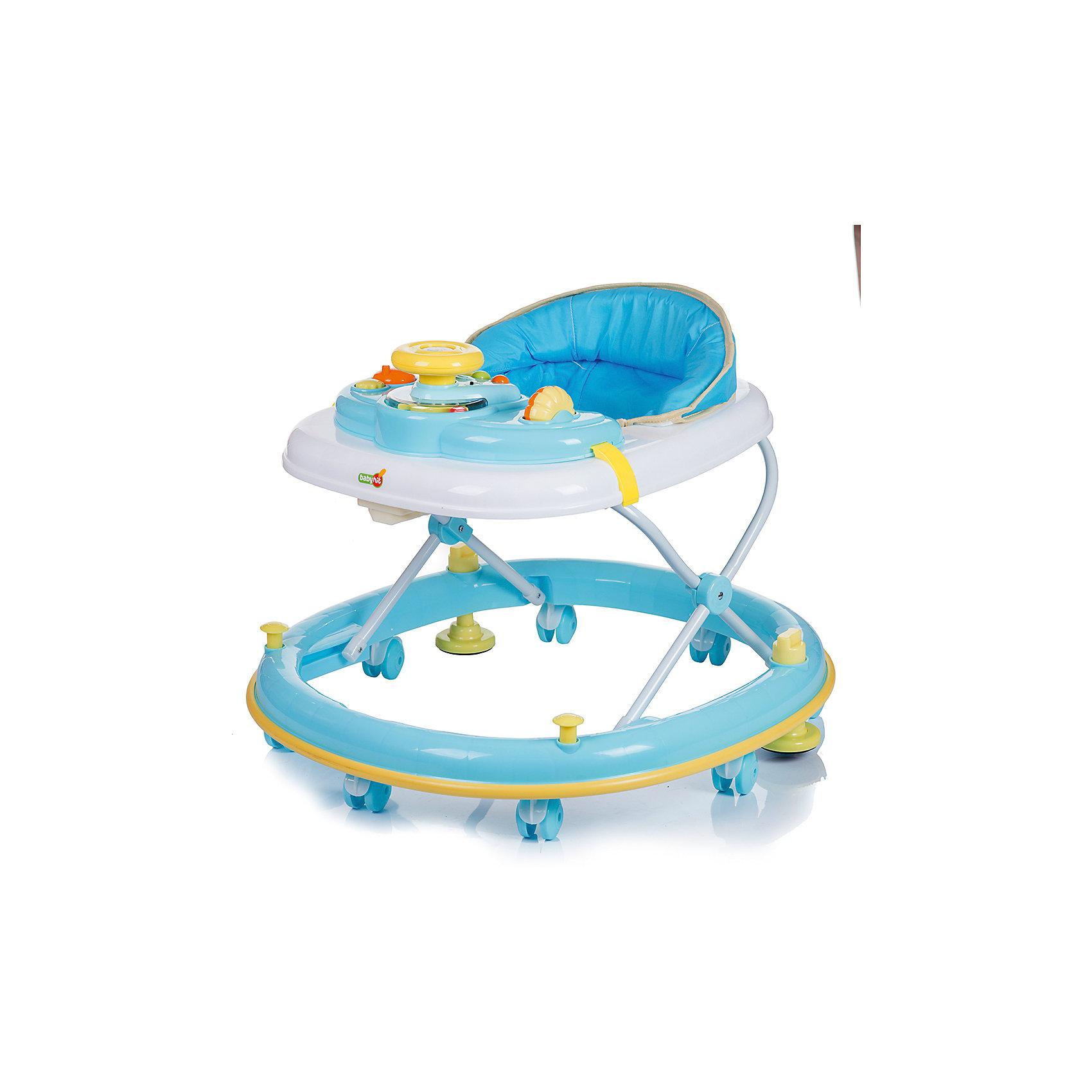 Ходунки CLEVER, Babyhit, голубойХодунки Babyhit Clever<br>Для детей от 7 до 18 месяцев<br>Закругленная база с мягкой окантовкой (защита от появления царапин на мебели и стенах)<br>Регулировка в 3-х уровнях по высоте<br>Игровая панель с звуковыми и световыми эффектами<br>Восемь сдвоенных колес с стопорами<br><br>Ширина мм: 715<br>Глубина мм: 110<br>Высота мм: 665<br>Вес г: 4800<br>Возраст от месяцев: 6<br>Возраст до месяцев: 18<br>Пол: Унисекс<br>Возраст: Детский<br>SKU: 5500343