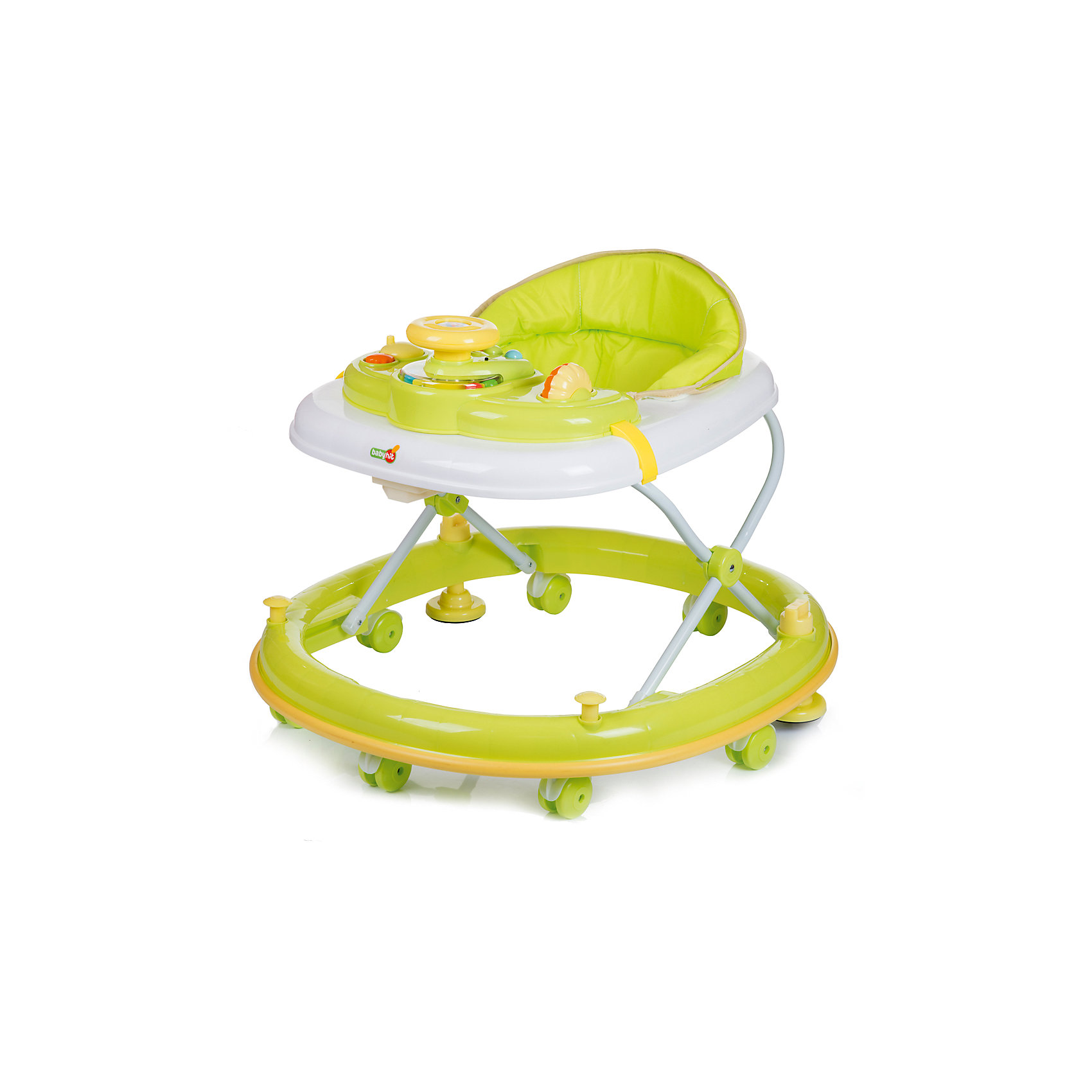Ходунки CLEVER, Babyhit, зелёныйХодунки Babyhit Clever<br>Для детей от 7 до 18 месяцев<br>Закругленная база с мягкой окантовкой (защита от появления царапин на мебели и стенах)<br>Регулировка в 3-х уровнях по высоте<br>Игровая панель с звуковыми и световыми эффектами<br>Восемь сдвоенных колес с стопорами<br><br>Ширина мм: 715<br>Глубина мм: 110<br>Высота мм: 665<br>Вес г: 4800<br>Возраст от месяцев: 6<br>Возраст до месяцев: 18<br>Пол: Унисекс<br>Возраст: Детский<br>SKU: 5500344