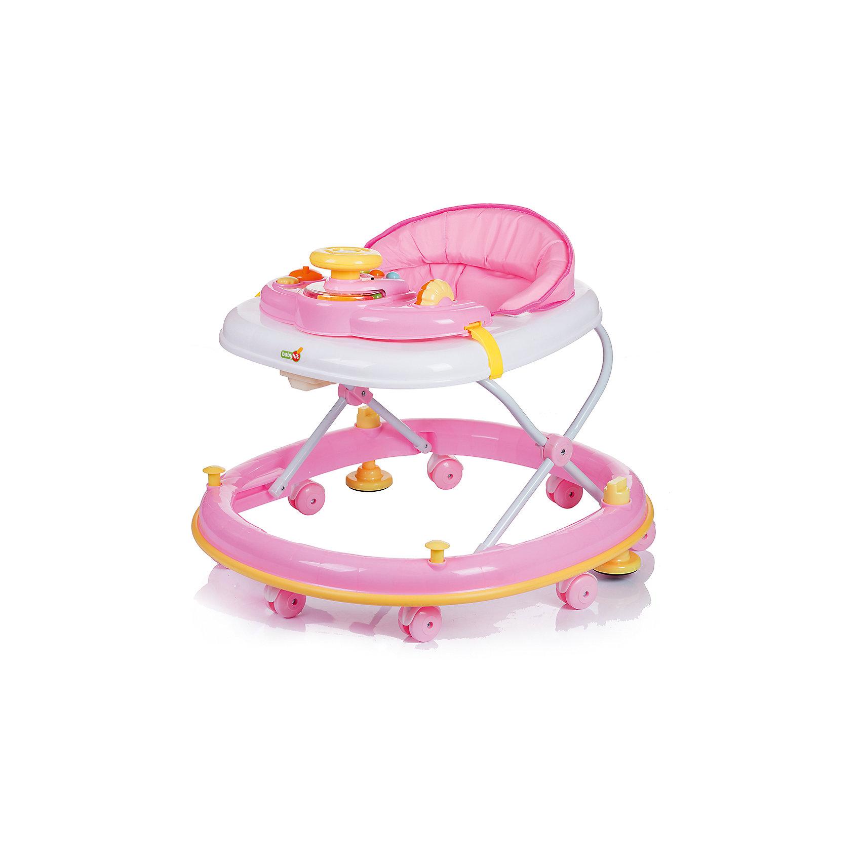 Ходунки CLEVER, Babyhit, розовыйХодунки<br>Характеристики:<br><br>• закругленная база с мягкой окантовкой;<br>• защита от появления царапин на мебели и стенах;<br>• регулируется высота ходунков, 3 положения;<br>• игровая панель с развивающими игрушками;<br>• световое и звуковое сопровождение;<br>• наличие сдвоенных колесиков со стопорами;<br>• съемный чехол сиденья для ухода и очистки;<br>• компактное складывание;<br>• размер упаковки: 71,5х11х66,5 см;<br>• вес: 4,8 кг.<br><br>Продуманная до мелочей конструкция ходунков предоставляет ребенку свободу перемещений в пространстве на этапе его роста и развития. Малыш находится в ходунках в сиденье-коконе, с высокой спинкой в мягкой обивке. Игровая панель для игры и развития ребенка имеет звуковой модуль и подвижные элементы. Основание ходунков имеет прорезиненную накладку по всему диаметру, которая предотвратит мелкие царапины на мебели во время путешествий ребенка в ходунках в помещении. <br><br>Ходунки CLEVER, Babyhit, цвет розовый можно купить в нашем интернет-магазине.<br><br>Ширина мм: 715<br>Глубина мм: 110<br>Высота мм: 665<br>Вес г: 4800<br>Возраст от месяцев: 6<br>Возраст до месяцев: 18<br>Пол: Женский<br>Возраст: Детский<br>SKU: 5500345