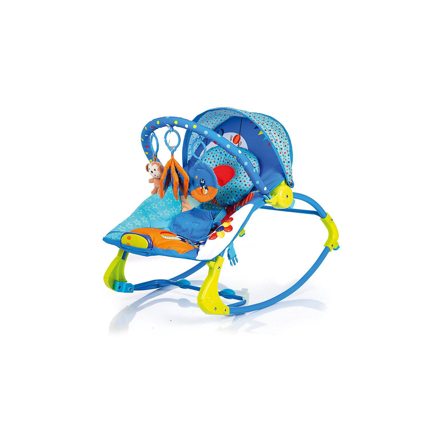 Шезлонг RK-01, Babyhit, ЦиркШезлонги<br>Характеристики:<br><br>• шезлонг оснащен полользями для качания;<br>• шезлонг трансформируется в кресло-качалку;<br>• наклон спинки регулируется, 3 положения: полусидя, полулежа и лежа;<br>• используется функция вибрации;<br>• ремни безопасности и мягкий паховый ограничитель;<br>• музыкальное сопровождение;<br>• съемный чехол, который можно стирать;<br>• дуга с подвесными игрушками;<br>• компактное складывание;<br>• допустимая нагрузка: с опущенной спинкой - 10 кг, с поднятой спинкой - 20 кг;<br>• размеры шезлонга: 51х78х59 см;<br>• размер упаковки: 50х9х36 см;<br>• вес: 3,39 кг.<br><br>Детский шезлонг используется не только как креслице-кокон для сна и отдыха ребенка. Благодаря полозьям шезлонг используется как кресло-качалка, когда дополнительной функцией является равномерное раскачивание ребенка креслице-коконе как в люльке. На основании опорной конструкции шезлонга-качалки имеются специальные накладки, которые препятствуют возникновению мелких царапин и потертостей на напольном покрытии. Защитный козырек, дуга с игрушками, подголовник анатомической формы – данные аксессуары обеспечивают дополнительный комфорт и функциональность шезлонга.<br><br>Шезлонг RK-01, Babyhit, Цирк можно купить в нашем интернет-магазине.<br><br>Ширина мм: 500<br>Глубина мм: 360<br>Высота мм: 90<br>Вес г: 3390<br>Возраст от месяцев: 6<br>Возраст до месяцев: 18<br>Пол: Унисекс<br>Возраст: Детский<br>SKU: 5500353