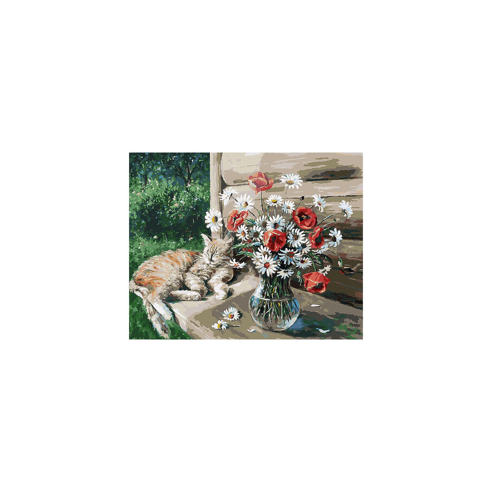 Живопись на холсте Дачная жизнь кота Василия, 40*50 смРаскраски по номерам<br>Живопись на холсте Дачная жизнь кота Василия, 40*50 см<br><br>Характеристики:<br><br>• Вес: 850<br>• Размер: 40х50<br>• Краски: акриловые, быстросохнущие<br>• Количество цветов: 40<br>• В наборе: холст на подрамнике, настенное крепление, контрольный лист с рисунком, 40 красок, 3 кисти<br><br>Данный набор позволит любому человеку ощутить себя профессиональным художником. В комплект входит холст с нанесенным на него рисунком по номерам, акриловые краски на водной основе, специальный контрольный лист, предотвращающий ошибки и 3 удобные кисти разных размеров. <br><br>Рисовать на холсте очень удобно, а благодаря номерам на картине и баночках с краской - это совсем просто. Цвета ложатся ровным слоем, перекрывая нанесенный рисунок. Если вы боитесь, что где-то ошиблись – приложите контрольный лист, который полностью повторяет схему. Акриловые краски совершенно безопасны и не имеют запаха. А благодаря настенному креплению вы сможете повесить готовую работу.<br><br>Живопись на холсте Дачная жизнь кота Василия, 40*50 см можно купить в нашем интернет-магазине.<br><br>Ширина мм: 510<br>Глубина мм: 410<br>Высота мм: 250<br>Вес г: 850<br>Возраст от месяцев: 72<br>Возраст до месяцев: 2147483647<br>Пол: Унисекс<br>Возраст: Детский<br>SKU: 5500408