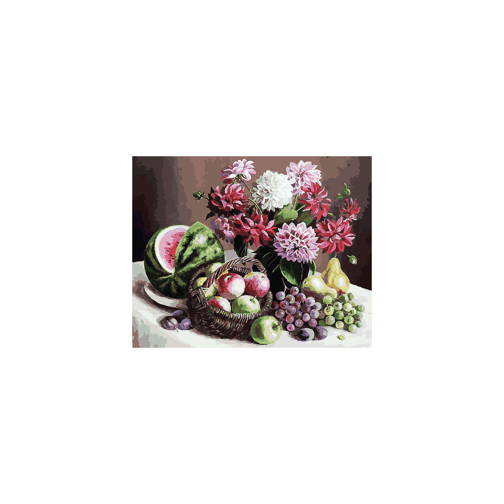 Живопись на холсте  Георгины и фрукты, 40*50 смРаскраски по номерам<br>Живопись на холсте Георгины и фрукты, 40*50 см<br><br>Характеристики:<br><br>• Вес: 850<br>• Размер: 40х50<br>• Краски: акриловые, быстросохнущие<br>• Количество цветов: 40<br>• В наборе: холст на подрамнике, настенное крепление, контрольный лист с рисунком, 40 красок, 3 кисти<br><br>Данный набор позволит любому человеку ощутить себя профессиональным художником. В комплект входит холст с нанесенным на него рисунком по номерам, акриловые краски на водной основе, специальный контрольный лист, предотвращающий ошибки и 3 удобные кисти разных размеров. <br><br>Рисовать на холсте очень удобно, а благодаря номерам на картине и баночках с краской - это совсем просто. Цвета ложатся ровным слоем, перекрывая нанесенный рисунок. Если вы боитесь, что где-то ошиблись – приложите контрольный лист, который полностью повторяет схему. Акриловые краски совершенно безопасны и не имеют запаха. А благодаря настенному креплению вы сможете повесить готовую работу.<br><br>Живопись на холсте Георгины и фрукты, 40*50 см можно купить в нашем интернет-магазине.<br><br>Ширина мм: 510<br>Глубина мм: 410<br>Высота мм: 250<br>Вес г: 850<br>Возраст от месяцев: 72<br>Возраст до месяцев: 2147483647<br>Пол: Унисекс<br>Возраст: Детский<br>SKU: 5500415