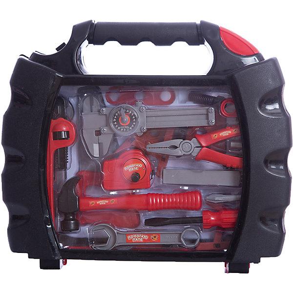 Набор инструментов в чемодане Помогаю Папе, 27 предм., ABtoysНаборы инструментов<br>Характеристики:<br><br>• тип игрушки: игровой набор;<br>• комплектация: брусок, шпатель, торцевой ключ, молоток с гвоздодером, ножовка, дрель, рулетка, три лекала, струбцина, четыре гайки, разводной ключ, два дюбеля, три болта, уровень;<br>• возраст: от 3 лет;<br>• вес: 1,117 кг;<br>• размер: 39х9х33,5 см;<br>• бренд: Abtoys;<br>• упаковка: пластиковый чемоданчик;<br>• материал: пластик.<br><br>Набор из серии «Помогаю папе» набор инструментов в чемодане - это оптимальное решение для организации самых разных ролевых игр ребенка. Набор с большим количеством аксессуаров обязательно увлечет ребенка и подарит ему очень много ярких впечатлений. Ребенок сможет разыграть огромное количество сценок, которые до этого видел в реальной жизни.<br><br>Набор состоит из 19 предметов, среди которых брусок, шпатель, торцевой ключ, молоток с гвоздодером, ножовка, дрель, рулетка, три лекала, струбцина, четыре гайки, разводной ключ, два дюбеля, три болта, уровень. Все предметы сложены в чемоданчик, для каждого из них имеется специальное место.<br><br>Весь набор сделан из прочного и качественного пластика, который прошел все необходимые проверки и соответствует стандартам качества, необходимым для производства товаров для детей.<br><br>Набор из серии «Помогаю папе» набор инструментов в чемодане можно купить в нашем интернет-магазине.<br>Ширина мм: 335; Глубина мм: 360; Высота мм: 80; Вес г: 1292; Возраст от месяцев: 36; Возраст до месяцев: 120; Пол: Мужской; Возраст: Детский; SKU: 5500913;