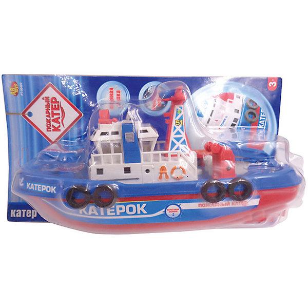 Катер Пожарный, ABtoysКорабли и лодки<br>Характеристики:<br><br>• тип игрушки: игрушки для ванной;<br>• возраст: от 3 года;<br>• длинна катера: 24 см;<br>• питание: 3 батарейки типа АА (в комплект не входят);<br>• размер: 28x16x9 см;<br>• бренд: Abtoys;<br>• упаковка: картонная коробка блистерного типа;<br>• материал: металл, пластик.<br><br>Электромеханический пожарный катер от бренда ABtoys станет отличным подарком для ребенка от трех лет. Лодка выполнена в сочетании синего, красного и белого цветов и отлично детализирована.<br><br>С помощью такой игрушки ребенок придумает необычные истории и сюжетные игры, превратив купание в настоящее веселье. Играя, кроха увлекательно проведет досуг, сможет развить цветовое восприятие, концентрацию внимания, ловкость, тактильные ощущения и координацию.<br><br>Все детали игрушки изготовлены из безопасного пластика, который прошел всю необходимую сертификацию. Каждый предмет окрашен нетоксичными насыщенными красителями.<br><br>Электромеханический пожарный катер от бренда ABtoys можно купить в нашем интернет-магазине.<br>Ширина мм: 155; Глубина мм: 280; Высота мм: 80; Вес г: 250; Возраст от месяцев: 36; Возраст до месяцев: 120; Пол: Мужской; Возраст: Детский; SKU: 5500919;