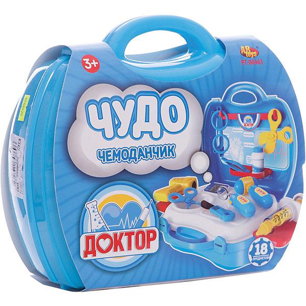 Чудо-чемоданчик Доктор, 18 предм., ABtoysНаборы доктора и ветеринара<br>Характеристики:<br><br>• возраст: от 3 лет;<br>• тип игрушки: набор;<br>• размер: 20x24x 10 см;<br>• количество предметов:18;<br>• вес: 490 гр; <br>• материал: пластик;<br>• бренд: ABtoys;<br>• страна производитель: Китай.<br><br>Набор «Чудо-чемоданчик Доктор» представляет из себя набор из 18 предметов, который подойдет для игры в доктора для детей от трех лет.  В этом компактном чемодане есть все, чтобы оказывать первую помощь своим друзьям где-угодно, ведь чудо-чемоданчик очень удобно брать с собой везде. В нем ребенок найдет  очки доктора, лекарства, инструменты, фонарь, стоматологическую лупу, пинцет, ножницы и многое другое. Удобный чемоданчик легко взять с собой в путешествие. <br><br>Набор «Чудо-чемоданчик Доктор»  можно купить в нашем интернет-магазине.<br>Ширина мм: 200; Глубина мм: 240; Высота мм: 100; Вес г: 500; Возраст от месяцев: 36; Возраст до месяцев: 96; Пол: Унисекс; Возраст: Детский; SKU: 5500920;