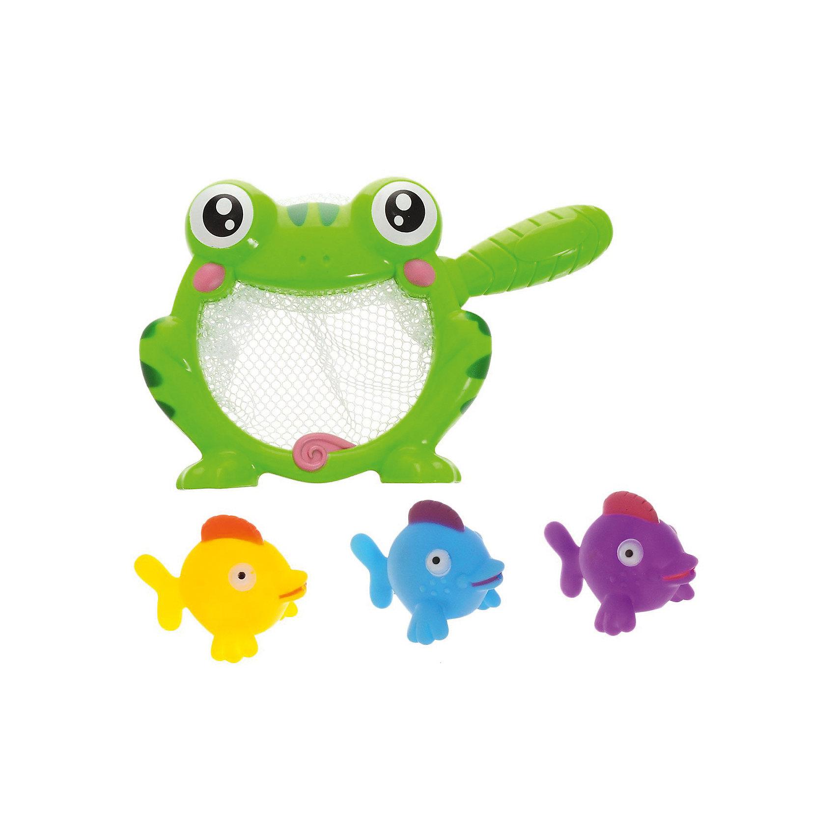 Набор резиновых игрушек для ванной Веселое купание: 3 рыбки и лягушка-сачок, 4 предм., ABtoysИгровые наборы<br>Веселое купание. Резиновые игрушки для ванной, в.наборе 4 шт. (3 рыбки и лягушка-сачок), на блистере, 21,5x4,6x5 см<br><br>Ширина мм: 215<br>Глубина мм: 46<br>Высота мм: 50<br>Вес г: 162<br>Возраст от месяцев: 36<br>Возраст до месяцев: 96<br>Пол: Унисекс<br>Возраст: Детский<br>SKU: 5500924