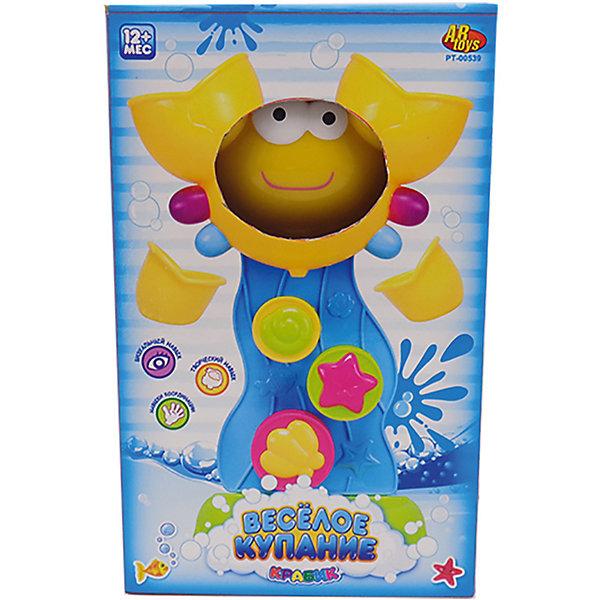 Краб-мельница для ванной, с формочкой (2 предмета), Веселое купание, ABtoysИгрушки для ванной<br>Характеристики:<br><br>• тип игрушки: игрушки для ванной;<br>• возраст: от 1 года;<br>• вес: 500 гр;<br>• комплектация: утенок, 2 формочки;<br>• размер: 31,8x9,6x24,3 см;<br>• бренд: Abtoys;<br>• упаковка: картонная коробка блистерного типа;<br>• материал: пластик.<br><br>Краб-мельница для ванной с двумя предметами из сери «Веселое купание» от бренда ABtoys станет отличным подарком для ребенка от 1 года. Краб крутится и создаёт вокруг себя множество брызг, чем сильно порадует ребенка. При этом игрушке не страшна вода, потому что все детали изготовлены из качественного пластика и покрыты влагоустойчивыми красителями.<br><br>С такой игрой ребенок не только весело проведет время, но и сможет развить цветовое восприятие, концентрацию внимания, ловкость, тактильные ощущения и координацию.<br><br>Все детали игрушки изготовлены из безопасного пластика, который прошел всю необходимую сертификацию. Каждый предмет окрашен нетоксичными насыщенными красителями.<br><br>Краб-мельницу для ванной с двумя предметами из сери «Веселое купание» от бренда ABtoys можно купить в нашем интернет-магазине.<br>Ширина мм: 155; Глубина мм: 70; Высота мм: 225; Вес г: 216; Возраст от месяцев: 36; Возраст до месяцев: 96; Пол: Унисекс; Возраст: Детский; SKU: 5500935;