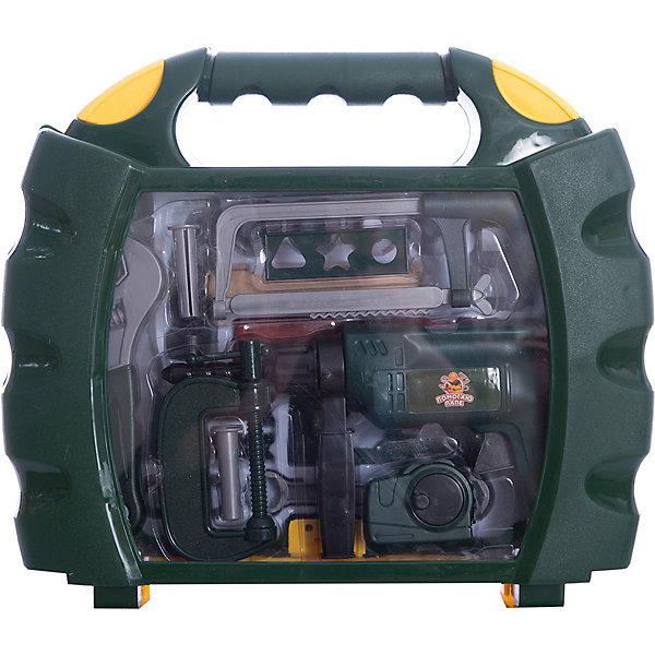 Набор инструментов в чемодане Помогаю Папе, 22 предм., ABtoysНаборы инструментов<br>Характеристики:<br><br>• возраст: от 3 лет;<br>• тип игрушки: набор инструментов;<br>• размер: 39x9x33.5 см.<br>• комплект: 22 предмета;<br>• материал: пластик;<br>• бренд: ABtoys;<br>• вес: 1,17 кг;<br>•упаковка: чемоданчик;<br>• страна производитель: Китай.<br><br>Набор инструментов в чемодане «Помогаю Папе», 22 предм., ABtoys - необходимый элемент в игровой комнате каждого мальчика. Игрушки с ранних лет научат малыша первичным навыкам работы с инструментами. Все инструменты изготовлены из качественного пластика, поэтому абсолютно безопасны для игры. Мальчик сможет наблюдать за папой и повторять все его действия, но уже с помощью своего набора. <br><br>В большой и полезный набор входят 22 предмета: брусок, шпатель, торцевой ключ, молоток с гвоздодером, ножовка, дрель, рулетка, лекало 3 шт., струбцина, гайка 4 шт., разводной ключ, дюбель 2 шт., болт 3 шт., уровень. Все инструменты выполнены из качественных материалов, не вредных для детей.<br><br>Набор инструментов в чемодане «Помогаю Папе», 22 предм., ABtoys можно купить в нашем интернет-магазине.<br>Ширина мм: 390; Глубина мм: 90; Высота мм: 335; Вес г: 1170; Возраст от месяцев: 36; Возраст до месяцев: 120; Пол: Мужской; Возраст: Детский; SKU: 5500941;