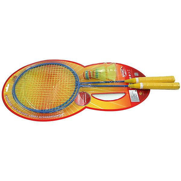 Набор Бадминтон, 4 предм., ABtoysБадминтон и теннис<br>Характеристики:<br><br>• тип игрушки: для спорта и отдыха;<br>• возраст: от 3 лет;<br>• вес: 306 гр;<br>• комплектация: 2 ракетки, 2 волана;<br>• размер: 54,5х27х4 см;<br>• бренд: Abtoys;<br>• упаковка: блистер на картоне;<br>• материал: металл, пластик.<br><br>Набор для бадминтона из четырех предметов от бренда ABtoys станет отличным подарком для ребенка от трех лет. Бадминтон - это спортивная игра, основанная на перекидывании волана ракетками через сетку на игровом столе. Цель игры - перекинуть воланчик через сетку таким образом, чтобы тот коснулся поля на стороне противника. Игра бадминтон способствует укреплению мышц, развивает координацию, реакцию и меткость, повышает настроение.<br><br>Ракетки имеют эргономичный корпус с удобной для захвата детскими руками рукояткой. А воланчики из ударопрочного пластика обладают большой дальностью полета, прекрасно отскакивают от сетки при ударе.<br><br>Весь набор выполнен из безопасного пластика, который прошел всю необходимую сертификацию. Каждый предмет окрашен нетоксичными насыщенными красителями.<br><br>Набор для бадминтона из четырех предметов от бренда ABtoys можно купить в нашем интернет-магазине.<br>Ширина мм: 545; Глубина мм: 270; Высота мм: 40; Вес г: 306; Возраст от месяцев: 36; Возраст до месяцев: 192; Пол: Мужской; Возраст: Детский; SKU: 5500944;