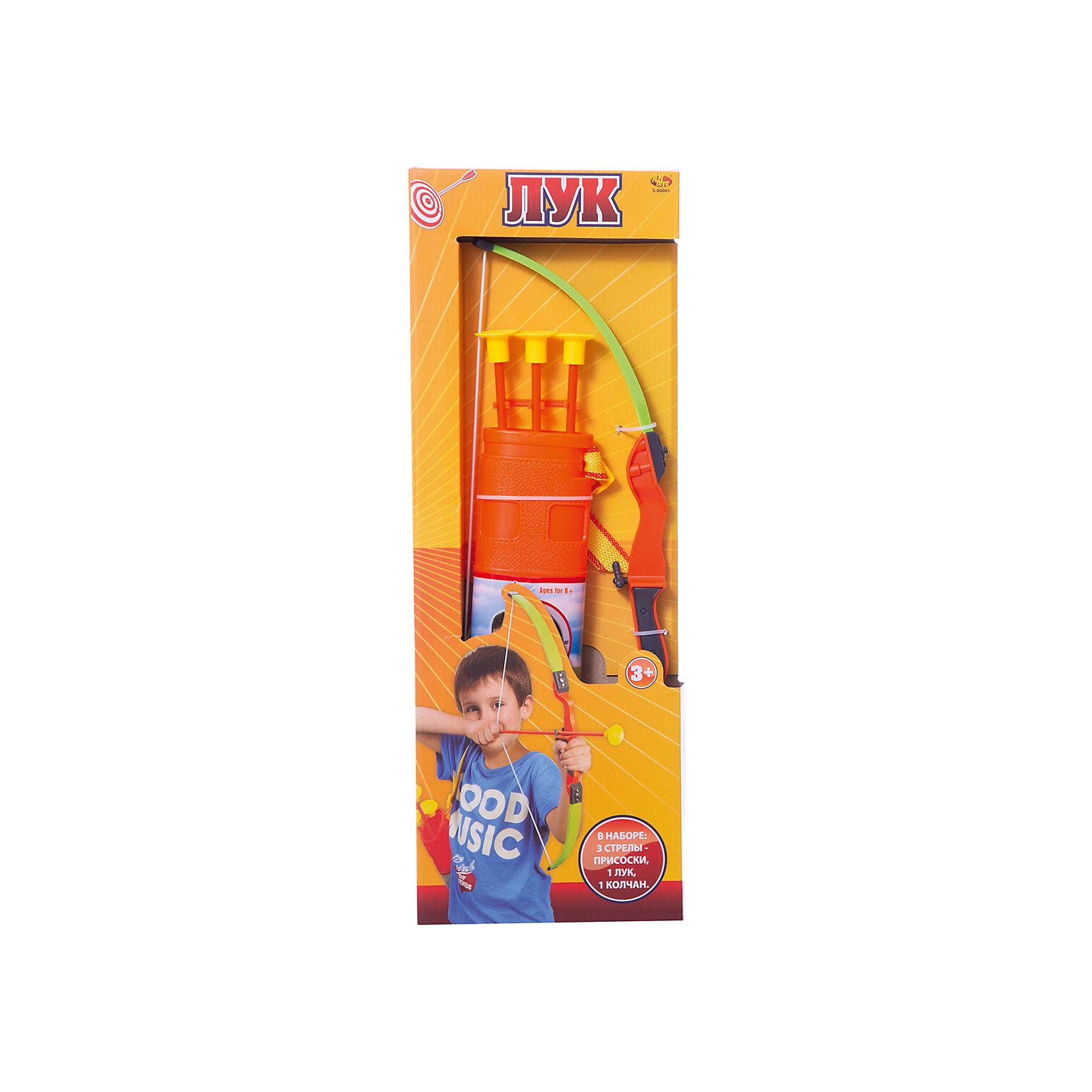 Лук со стрелами на присосках, 3 стрелы, колчан и лук, ABtoysИгровые наборы<br>Лук со стрелами на присосках, в наборе 3 стрелы, колчан и лук, в коробке, 20х57,3х4,3 см<br><br>Ширина мм: 200<br>Глубина мм: 573<br>Высота мм: 43<br>Вес г: 500<br>Возраст от месяцев: 36<br>Возраст до месяцев: 144<br>Пол: Мужской<br>Возраст: Детский<br>SKU: 5500948