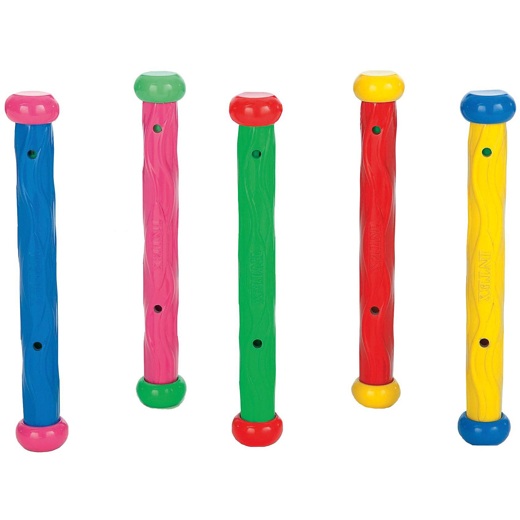 Подводные палочки, 5 цветов, IntexИгровые наборы<br>Подводные палочки, 5 цветов, Intex (Интекс).<br><br>Характеристика:<br><br>• Материал: пластик. <br>• Размер палочки: 25 см. <br>• Оснащены утяжелителями (не всплывают)<br>• Могут стоять вертикально на дне бассейна. <br>• Рифленая поверхность для удобства захвата. <br>• Предназначены для обучения подводному плаванию.<br>• 5 палочек разных цветов в комплекте. <br><br>Яркие подводные палочки Intex предназначены для обучения плаванию. Смысл игры в том, чтобы достать игрушку со дна бассейна. Палочки изготовлены из высококачественных нетоксичных материалов, имеют утяжелители, могут находиться в воде в вертикальном положении, удобном для захвата руками. <br><br>Подводные палочки, 5 цветов, Intex (Интекс) можно купить в нашем интернет-магазине.<br><br>Ширина мм: 170<br>Глубина мм: 290<br>Высота мм: 40<br>Вес г: 309<br>Возраст от месяцев: 72<br>Возраст до месяцев: 192<br>Пол: Унисекс<br>Возраст: Детский<br>SKU: 5501933