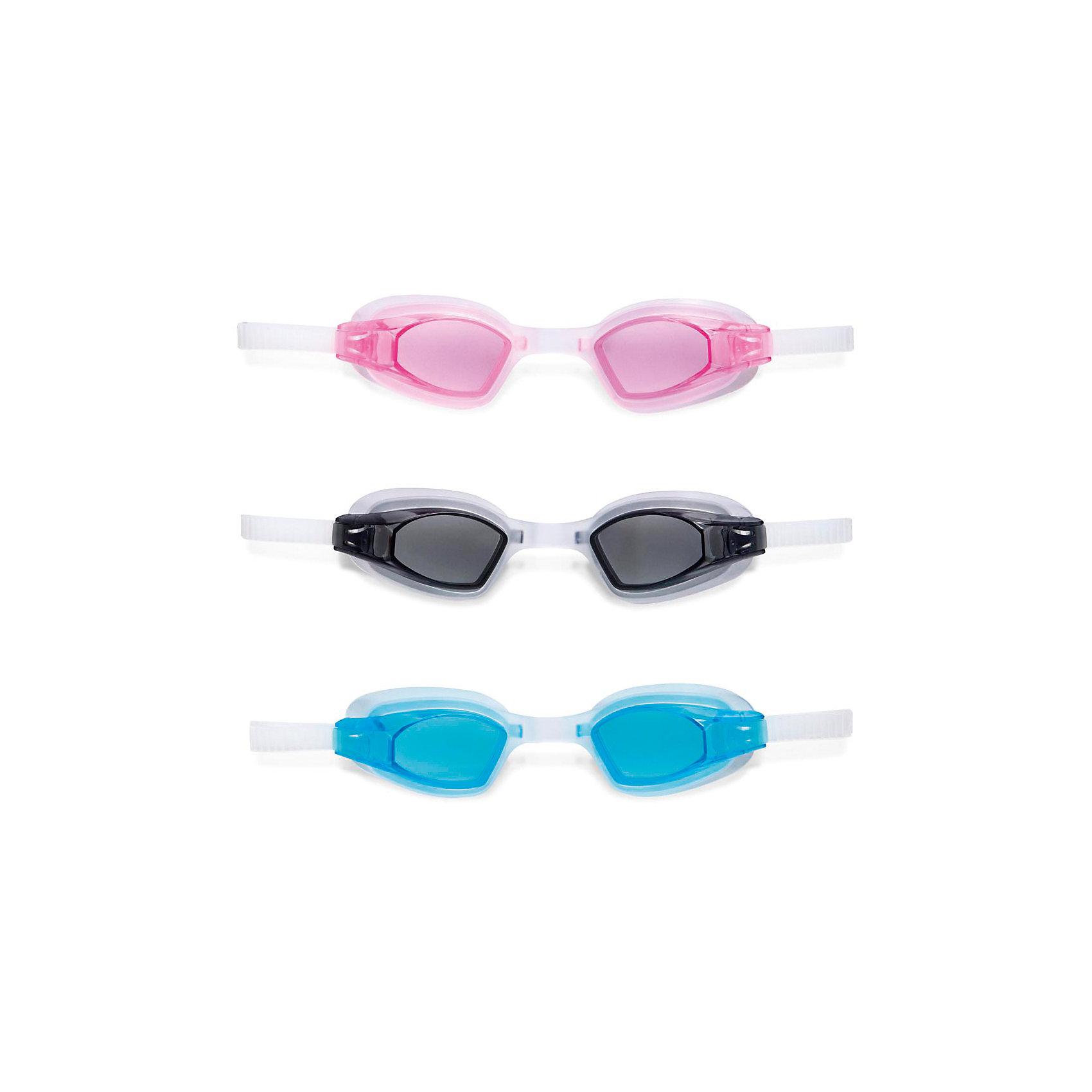 Спортивные очки для плавания Фри стайл, IntexОчки, маски, ласты, шапочки<br>Характеристики товара:<br><br>• материал: пластик, силикон, резина<br>• размер упаковки: 19,5х16х5 см<br>• возраст: от 8 лет<br>• линзы с функцией анти-запотевания обеспечивают защиту от UV-излучения <br>• удобный регулируемый силиконовый ремешок<br>• мягкие накладки<br>• переносица не регулируется<br>• отлично защищают от попадания воды<br>• 3 цвета в ассортименте: черный, розовый, голубой<br><br>Спортивные очки Фри стайл от Intex - отличный вариант для плавания под водой. <br><br>Очки имеют удобный регулируемый силиконовый ремешок и мягкие накладки, гарантирующие герметичное прилегание и не допускающие проникновение воды. <br><br>Пластиковые линзы с функцией антизапотевания обеспечивают защиту от UV-излучения. <br><br>Очки изготовлены из прочных нетоксичных материалов, удобны в эксплуатации, прослужат очень долго. <br><br>Спортивные очки для плавания Фри стайл (Free Style), Intex (Интекс) можно купить в нашем интернет-магазине.<br><br>Ширина мм: 165<br>Глубина мм: 196<br>Высота мм: 50<br>Вес г: 99<br>Возраст от месяцев: 96<br>Возраст до месяцев: 192<br>Пол: Унисекс<br>Возраст: Детский<br>SKU: 5501935