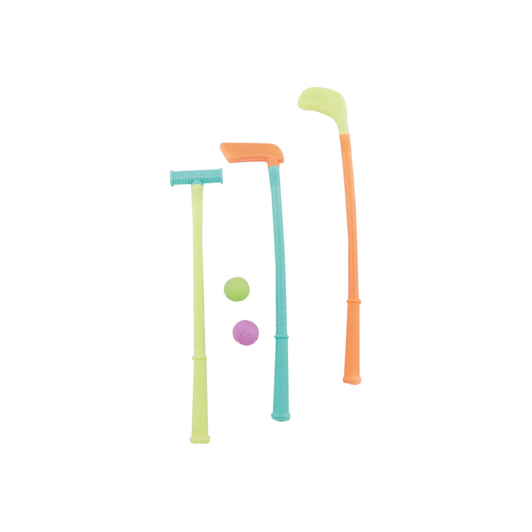 Набор для гольфа, 3 клюшки, 45смИгровые наборы<br>Набор для гольфа, 3 клюшки, 45см.<br><br>Характеристика:<br><br>• Материал: пластик.  <br>• Длина клюшки: 45 см.<br>• Комплектация: 3 клюшки, 2 мяча. <br>• Яркий привлекательный дизайн. <br>• Развивает внимание и координацию движений. <br><br>Гольф - увлекательная игра, помогающая развить внимание, координацию и усидчивость. В набор входят три разноцветные клюшки и два мячика. Игрушки выполнены из высококачественного прочного пластика безопасного для детей. С набором можно играть как на улице, так и дома, используя в качестве лунки обычный пластиковый стакан. <br><br>Набор для гольфа, 3 клюшки, 45см, можно купить в нашем интернет-магазине.<br><br>Ширина мм: 80<br>Глубина мм: 470<br>Высота мм: 50<br>Вес г: 1806<br>Возраст от месяцев: 36<br>Возраст до месяцев: 144<br>Пол: Унисекс<br>Возраст: Детский<br>SKU: 5501950