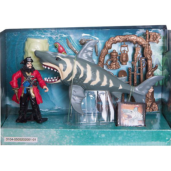 Набор: ПИРАТЫ. Нападение акулы, Chap MeiСолдатики, люди и рыцари<br>Набор: ПИРАТЫ. Нападение акулы, Chap Mei (Чап Мей)<br><br>Характеристики:<br><br>• подвижные челюсти и плавники акулы<br>• бочка светится в темноте<br>• в комплекте: фигурка пирата с попугаем, оружие, акула, бочка<br>• материал: пластик<br>• размер упаковки: 5х30х20 см<br>• вес: 734 грамма<br><br>Набор Нападение акулы - восхитительный подарок для маленьких пиратов. Набор состоит из фигурок пирата и попугая, акулы, бочки и, конечно же, оружия. Чтобы игра была еще интереснее, акула имеет подвижные челюсти и плавники, а бочка светится в темноте. Храбрый пират, несомненно, справится  с нападением опасного хищника, ведь у него в арсенале есть различные виды оружия, которые пригодятся ему во время защиты.<br><br>Набор: ПИРАТЫ. Нападение акулы, Chap Mei (Чап Мей) вы можете купить в нашем интернет-магазине.<br><br>Ширина мм: 273<br>Глубина мм: 102<br>Высота мм: 178<br>Вес г: 734<br>Возраст от месяцев: 36<br>Возраст до месяцев: 2147483647<br>Пол: Унисекс<br>Возраст: Детский<br>SKU: 5503281