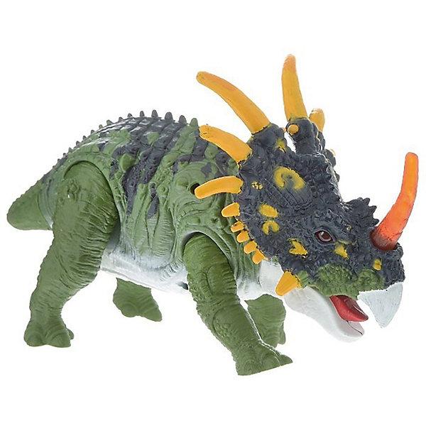 Подвижная фигура Стиракозавр, Chap MeiМир животных<br>Подвижная фигура Стиракозавр, Chap Mei (Чап Мей)<br><br>Характеристики:<br><br>• реалистичные детали<br>• световые эффекты<br>• динозавр двигается и рычит<br>• материал: пластик<br>• батарейки: AG13 - 3 шт. (входят в комплект)<br>• размер упаковки: 30х5х20 см<br>• вес: 1028 грамм<br><br>Стиракозавр - динозавр мелового периода. Его главной особенностью является большой воротник с шипами. Подвижная фигура Chap Mei познакомит ребенка с увлекательным миром динозавров и позволит придумать интересные сюжеты для игр. А чтобы игра была еще интереснее, игрушка оснащена световыми и звуковыми эффектами. Динозавр двигается, рычит, а его лампочки начинают светиться. Все детали выглядят очень реалистично. Для работы необходимы батарейки.<br><br>Подвижную фигуру Стиракозавр, Chap Mei (Чап Мей) можно купить в нашем интернет-магазине.<br><br>Ширина мм: 292<br>Глубина мм: 114<br>Высота мм: 191<br>Вес г: 1028<br>Возраст от месяцев: 36<br>Возраст до месяцев: 2147483647<br>Пол: Унисекс<br>Возраст: Детский<br>SKU: 5503288