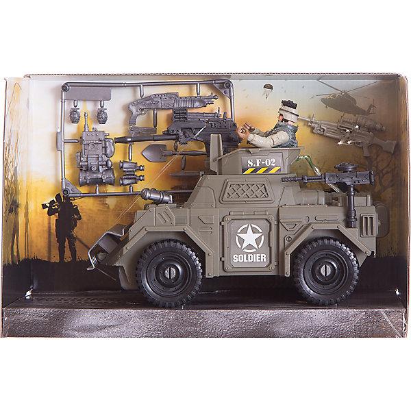 Набор: Броневик спецназа, Chap MeiСолдатики и рыцари<br>Набор: Броневик спецназа, Chap Mei (Чап Мей)<br><br>Характеристики:<br><br>• в комплекте: броневик, фигурка военного, снаряжение<br>• материал: пластик<br>• размер упаковки: 23,7х11,4х17,8 см<br>• вес: 820 грамм<br><br>Набор Боевик спецназа отлично подойдет юным любителям военных игр. Набор состоит из броневика, фигурки военного и снаряжения. Ребенок сможет посадить военного в кабину, дать ему в руки оружие и устроить настоящую сцену битвы. А бинокль поможет вовремя обнаружить врага.<br><br>Набор: Броневик спецназа, Chap Mei (Чап Мей) вы можете купить в нашем интернет-магазине.<br>Ширина мм: 273; Глубина мм: 114; Высота мм: 178; Вес г: 820; Возраст от месяцев: 36; Возраст до месяцев: 2147483647; Пол: Унисекс; Возраст: Детский; SKU: 5503291;
