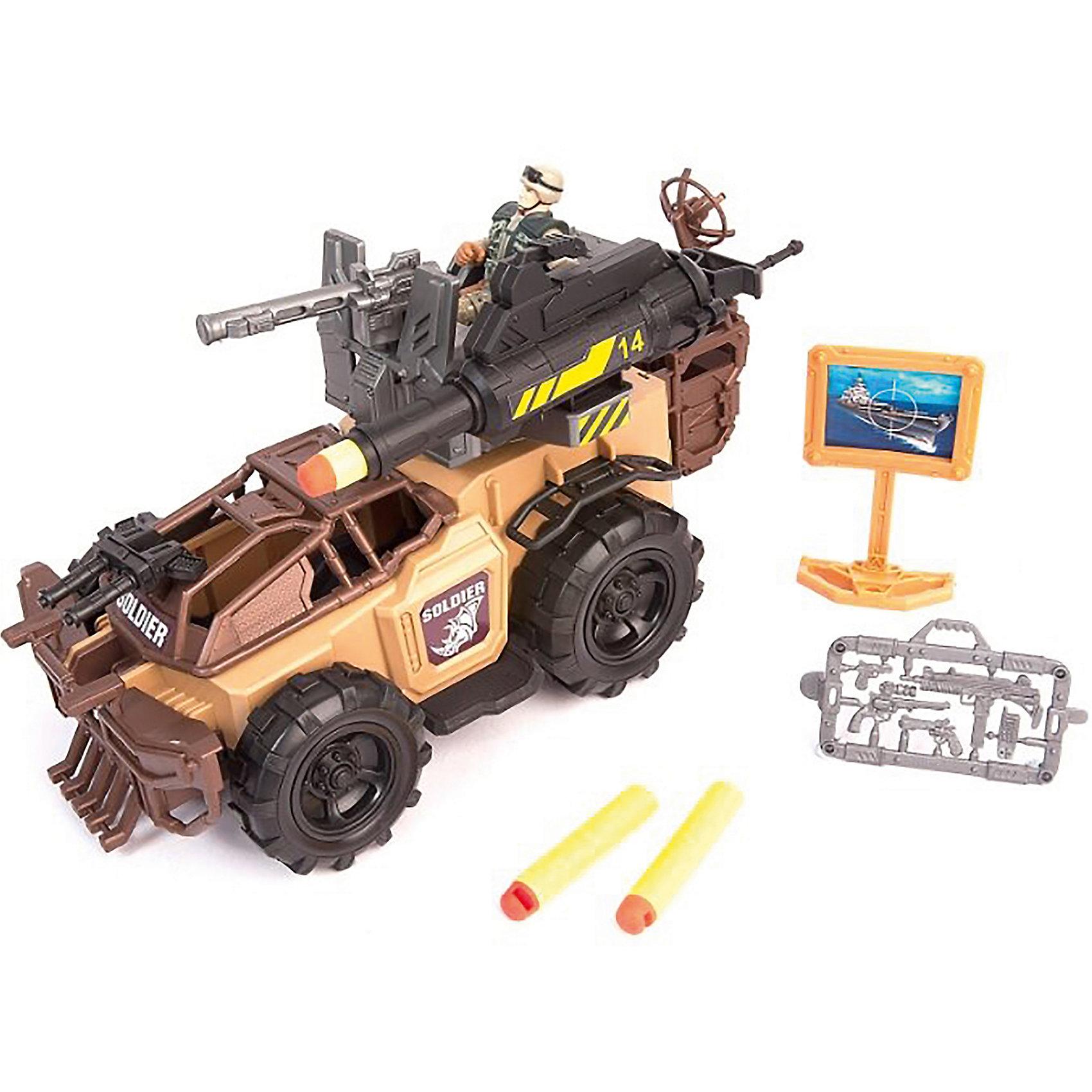 Набор: Ударный броневик, Chap MeiСолдатики и рыцари<br>Набор: Ударный броневик, Chap Mei (Чап Мей)<br><br>Характеристики:<br><br>• оборудован пушкой<br>• стреляет ракетами<br>• в комплекте: броневик, фигурка военного, снаряжение, ракеты 3 шт.<br>• материал: пластик<br>• размер упаковки: 47х16,8х21,6см<br><br>Набор Ударный броневик - отличный подарок для любителей военных игр. Ребёнок сможет придумать интересный сюжет, происходящий с военным, управляющим броневиком. Броневик стреляет ракетами, что придаёт игре ещё больше реалистичности. В комплект входит фигурка военного со всем необходимым снаряжением.<br><br>Набор: Ударный броневик, Chap Mei (Чап Мей) можно купить в нашем интернет-магазине.<br><br>Ширина мм: 470<br>Глубина мм: 168<br>Высота мм: 216<br>Вес г: 2040<br>Возраст от месяцев: 36<br>Возраст до месяцев: 2147483647<br>Пол: Унисекс<br>Возраст: Детский<br>SKU: 5503293