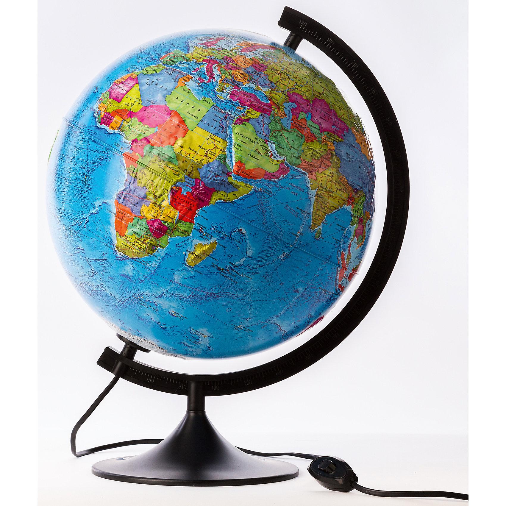 Глобус Земли политический  рельефный  с подсветкой, диаметр 210 ммГлобусы<br>Глобус Земли политический  рельефный  с подсветкой, д-р 210.<br><br>Характеристики:<br><br>• Для детей в возрасте: от 6 лет<br>• Диаметр: 21 см.<br>• Материал: пластик<br>• Цвет подставки и дуги: черный<br>• Подсветка работает от сети<br><br>Настольный глобус с современной политической картой мира станет замечательным наглядным пособием для вашего ребенка. На нем отображены страны, границы, города, континенты, моря, океаны и другая полезная информация. Политическая карта мира дополнена рельефом ландшафта. Надписи выполнены на русском языке, четкие и легкочитаемые. Сфера глобуса изготовлена из прочного высококачественного пластика, поэтому она не расколется от случайного падения. Устойчивая подставка и дуга с градусными отметками выполнены из прочного высококачественного пластика черного цвета. Для усиления цветового эффекта можно включить подсветку. Подсветка работает от стационарной сети в 220 Вольт. Провод изолирован, есть переключатель. Диаметр сферы 21 см - это оптимальный вариант для дошкольников и учащихся начальной школы. При таком размере достаточно подробно отображена карта мира, при этом глобус не занимает много места, и его легко держать ребенку в руках.<br><br>Глобус Земли политический  рельефный  с подсветкой, д-р 210 можно купить в нашем интернет-магазине.<br><br>Ширина мм: 230<br>Глубина мм: 210<br>Высота мм: 210<br>Вес г: 500<br>Возраст от месяцев: 72<br>Возраст до месяцев: 2147483647<br>Пол: Унисекс<br>Возраст: Детский<br>SKU: 5504458