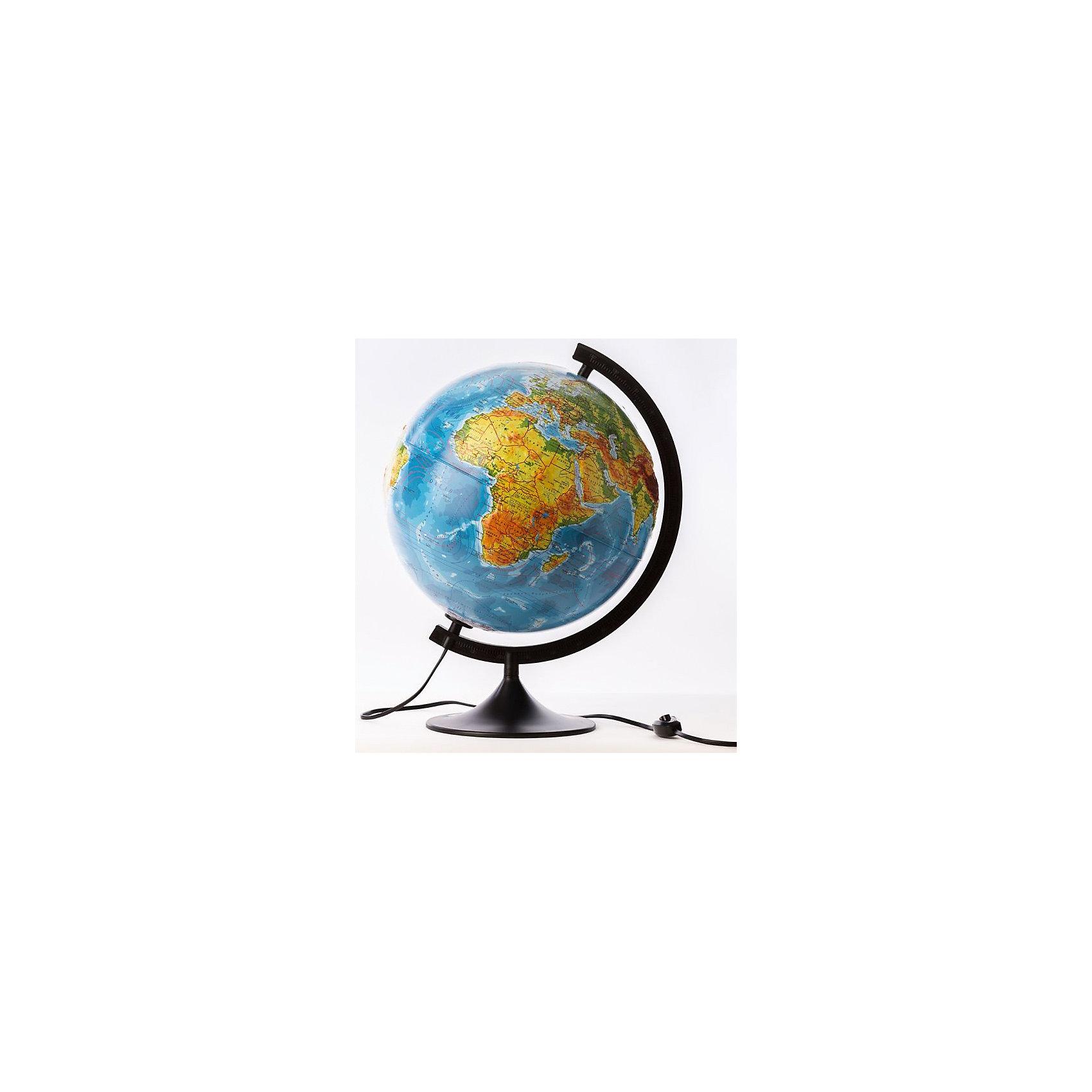 Глобус Земли физико-политический рельефный с подсветкой, диаметр 210 ммГлобусы<br>Глобус Земли физико-политический рельефный с подсветкой, д-р 210.<br><br>Характеристики:<br><br>• Для детей в возрасте: от 6 лет<br>• Диаметр: 21 см.<br>• Материал: пластик<br>• Цвет подставки и дуги: черный<br>• Подсветка работает от сети<br><br>Глобус Земли физико-политический с подсветкой станет замечательным наглядным пособием для вашего ребенка. Главная часть глобуса - его сфера - имеет очень интересное исполнение. Физическая карта, с нанесенными материками, океанами и морями с указанием течений, горными хребтами, плоскогорьями и равнинами, реками, озерами при включении подсветки превращается в политическую - становятся видны границы стран, а так же страны выделяются разными цветами. Такая особенность позволяет сочетать в одном глобусе два. Надписи выполнены на русском языке, четкие и легкочитаемые. Карта имеет рельеф поверхности в соответствии с нанесенным на нее ландшафтом. Сфера глобуса изготовлена из прочного высококачественного пластика, поэтому она не расколется от случайного падения. Устойчивая подставка и дуга с градусными отметками выполнены из прочного высококачественного пластика черного цвета. Диаметр сферы 21 см - это оптимальный вариант для дошкольников и учащихся начальной школы. При таком размере достаточно подробно отображена карта мира, при этом глобус не занимает много места, и его легко держать ребенку в руках.<br><br>Глобус Земли физико-политический рельефный с подсветкой, д-р 210 можно купить в нашем интернет-магазине.<br><br>Ширина мм: 230<br>Глубина мм: 210<br>Высота мм: 210<br>Вес г: 500<br>Возраст от месяцев: 72<br>Возраст до месяцев: 2147483647<br>Пол: Унисекс<br>Возраст: Детский<br>SKU: 5504460