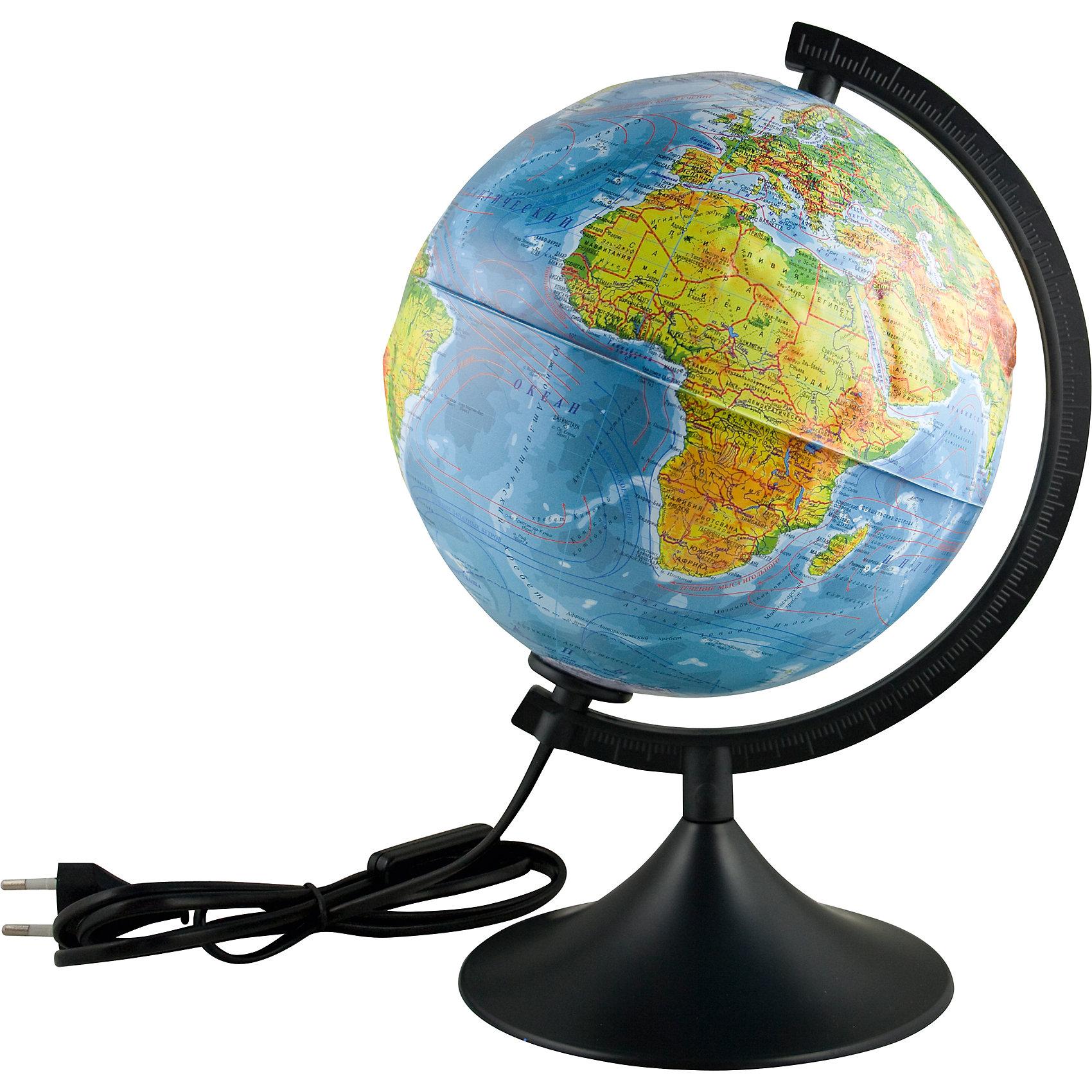 Глобус Земли физический  рельефный  с подсветкой, диаметр 210 ммПоследняя цена<br>Глобус Земли физический  рельефный  с подсветкой, д-р 210.<br><br>Характеристики:<br><br>• Для детей в возрасте: от 6 лет<br>• Диаметр: 21 см.<br>• Материал: пластик<br>• Цвет подставки и дуги: черный<br>• Подсветка работает от сети<br><br>Глобус Земли физический с подсветкой станет замечательным наглядным пособием для вашего ребенка. Физическая карта отображает ландшафт поверхности земного шара в соответствии с принятыми цветовыми условными обозначениями в картографии. Нанесены названия материков, океанов, морей, течений, заливов, горных хребтов, плоскогорий и низменностей, а также других географических объектов. Кроме этого отображены названия государств. Надписи яркие, четкие на русском языке. Карта имеет рельеф поверхности в соответствии с нанесенным на нее ландшафтом. Сфера глобуса изготовлена из прочного высококачественного пластика, поэтому она не расколется от случайного падения. Устойчивая подставка и дуга с градусными отметками выполнены из прочного высококачественного пластика черного цвета. Для усиления цветового эффекта рельефного ландшафта можно включить подсветку. Подсветка работает от стационарной сети в 220 Вольт. Провод изолирован, есть переключатель. Диаметр сферы 21 см - это оптимальный вариант для дошкольников и учащихся начальной школы. При таком размере достаточно подробно отображена карта мира, при этом глобус не занимает много места, и его легко держать ребенку в руках.<br><br>Глобус Земли физический  рельефный  с подсветкой, д-р 210 можно купить в нашем интернет-магазине.<br><br>Ширина мм: 230<br>Глубина мм: 210<br>Высота мм: 210<br>Вес г: 500<br>Возраст от месяцев: 72<br>Возраст до месяцев: 2147483647<br>Пол: Унисекс<br>Возраст: Детский<br>SKU: 5504462