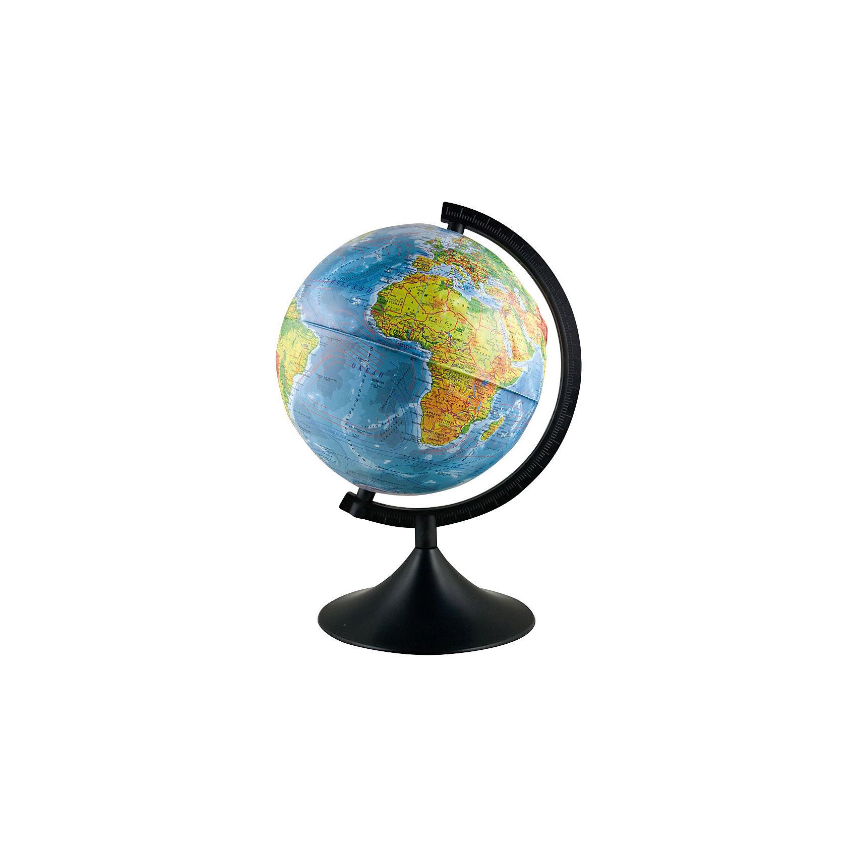 Глобус Земли физический рельефный, диаметр 250 ммГлобусы<br>Глобус Земли физический рельефный, д-р 250.<br><br>Характеристики:<br><br>• Для детей в возрасте: от 6 лет<br>• Диаметр: 25 см.<br>• Материал: пластик<br>• Цвет подставки и дуги: черный<br><br>Глобус Земли физический станет замечательным наглядным пособием для вашего ребенка. Физическая карта отображает ландшафт поверхности земного шара в соответствии с принятыми цветовыми условными обозначениями в картографии. Нанесены названия материков, океанов, морей, течений, заливов, горных хребтов, плоскогорий и низменностей, а также других географических объектов. Кроме этого отображены названия государств. Надписи яркие, четкие на русском языке. Карта имеет рельеф поверхности в соответствии с нанесенным на нее ландшафтом. Сфера глобуса изготовлена из прочного высококачественного пластика, поэтому она не расколется от случайного падения. Устойчивая подставка и дуга с градусными отметками выполнены из прочного высококачественного пластика черного цвета. Оптимальный диаметр глобуса 25 см позволит ему не занимать много места на столе.<br><br>Глобус Земли физический рельефный, д-р 250 можно купить в нашем интернет-магазине.<br><br>Ширина мм: 270<br>Глубина мм: 250<br>Высота мм: 250<br>Вес г: 900<br>Возраст от месяцев: 72<br>Возраст до месяцев: 2147483647<br>Пол: Унисекс<br>Возраст: Детский<br>SKU: 5504471