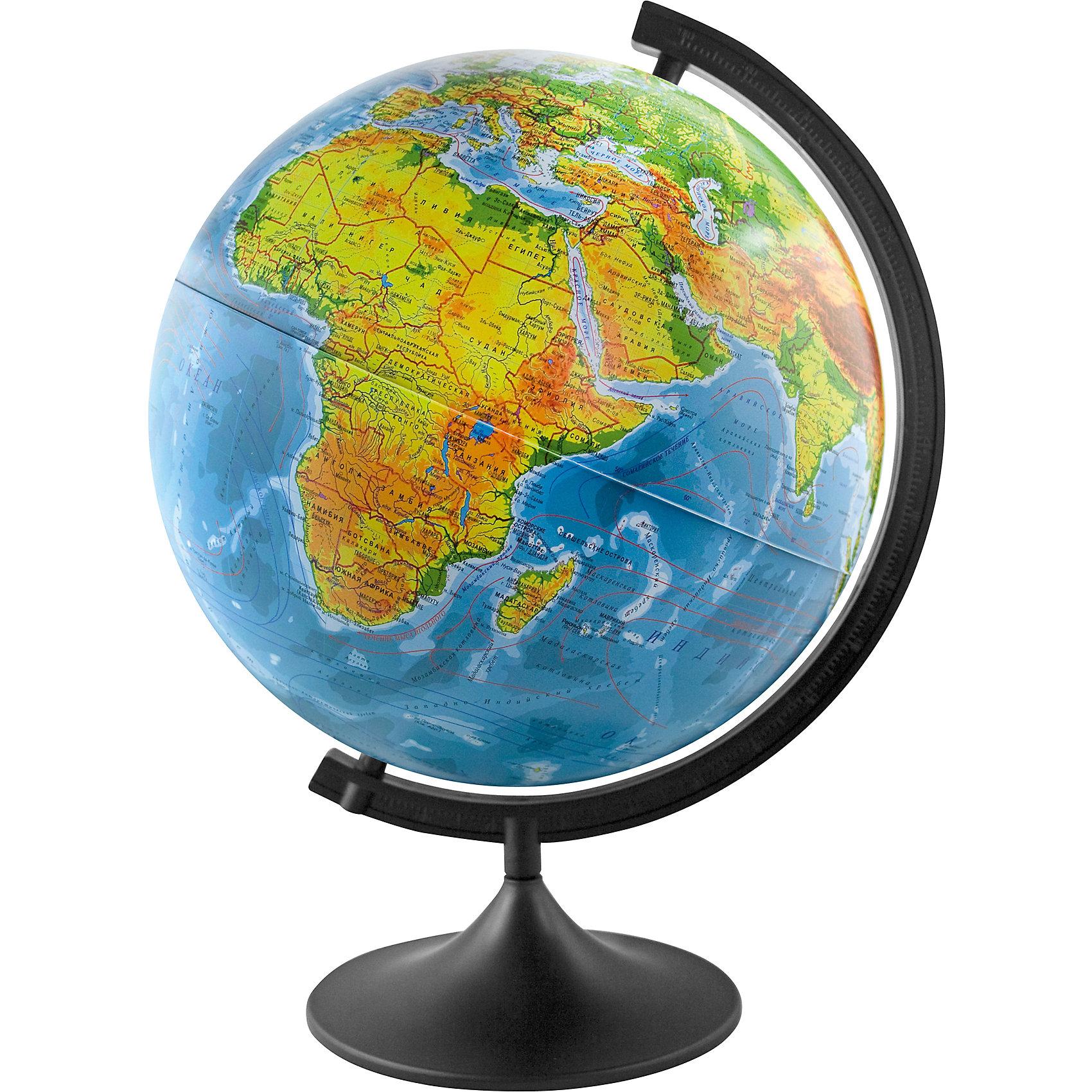 Глобус Земли физический, диаметр 320 ммГлобусы<br>Глобус Земли физический, д-р 320.<br><br>Характеристики:<br><br>• Для детей в возрасте: от 6 лет<br>• Диаметр: 32 см.<br>• Материал: пластик<br>• Цвет подставки и дуги: черный<br><br>Глобус Земли физический станет замечательным наглядным пособием для вашего ребенка. Физическая карта отображает ландшафт поверхности земного шара в соответствии с принятыми цветовыми условными обозначениями в картографии. Нанесены названия материков, океанов, морей, течений, заливов, горных хребтов, плоскогорий и низменностей, а также других географических объектов. Кроме этого отображены названия государств. Надписи яркие, четкие на русском языке. Сфера глобуса изготовлена из прочного высококачественного пластика, поэтому она не расколется от случайного падения. Устойчивая подставка и дуга с градусными отметками выполнены из прочного высококачественного пластика черного цвета.<br><br>Глобус Земли физический, д-р 320 можно купить в нашем интернет-магазине.<br><br>Ширина мм: 350<br>Глубина мм: 320<br>Высота мм: 320<br>Вес г: 900<br>Возраст от месяцев: 72<br>Возраст до месяцев: 2147483647<br>Пол: Унисекс<br>Возраст: Детский<br>SKU: 5504474