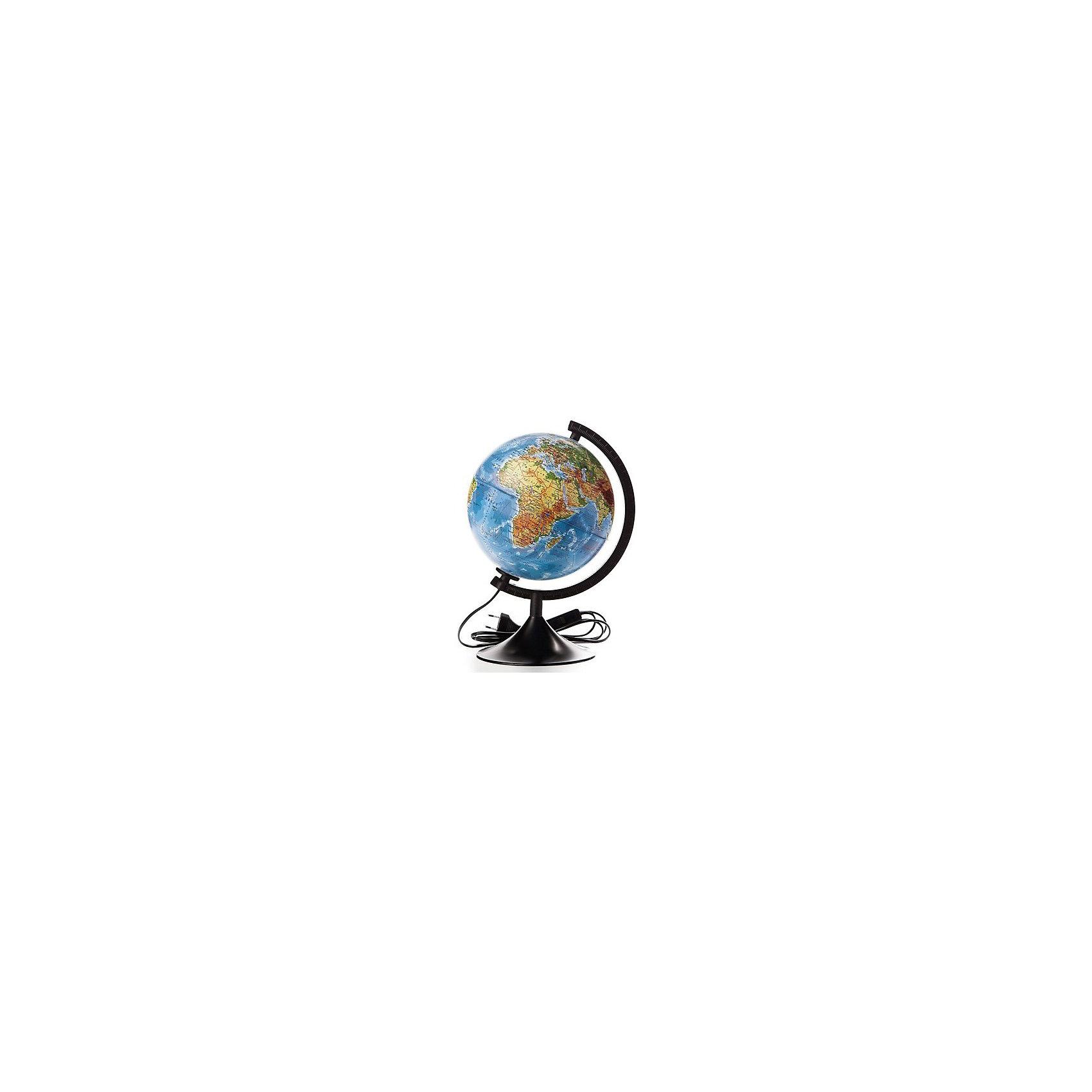 Глобус Земли физический с подсветкой, диаметр 320 ммПоследняя цена<br>Глобус Земли физический с подсветкой, д-р 320.<br><br>Характеристики:<br><br>• Для детей в возрасте: от 6 лет<br>• Диаметр: 32 см.<br>• Материал: пластик<br>• Цвет подставки и дуги: черный<br>• Подсветка работает от сети<br><br>Глобус Земли физический с подсветкой станет замечательным наглядным пособием для вашего ребенка. Физическая карта отображает ландшафт поверхности земного шара в соответствии с принятыми цветовыми условными обозначениями в картографии. Нанесены названия материков, океанов, морей, течений, заливов, горных хребтов, плоскогорий и низменностей, а также других географических объектов. Кроме этого отображены названия государств. Надписи яркие, четкие на русском языке. Сфера глобуса изготовлена из прочного высококачественного пластика, поэтому она не расколется от случайного падения. Устойчивая подставка и дуга с градусными отметками выполнены из прочного высококачественного пластика черного цвета. Для усиления цветового эффекта можно включить подсветку. Подсветка работает от стационарной сети в 220 Вольт. Провод изолирован, есть переключатель.<br><br>Глобус Земли физический с подсветкой, д-р 320 можно купить в нашем интернет-магазине.<br><br>Ширина мм: 350<br>Глубина мм: 320<br>Высота мм: 320<br>Вес г: 900<br>Возраст от месяцев: 72<br>Возраст до месяцев: 2147483647<br>Пол: Унисекс<br>Возраст: Детский<br>SKU: 5504476