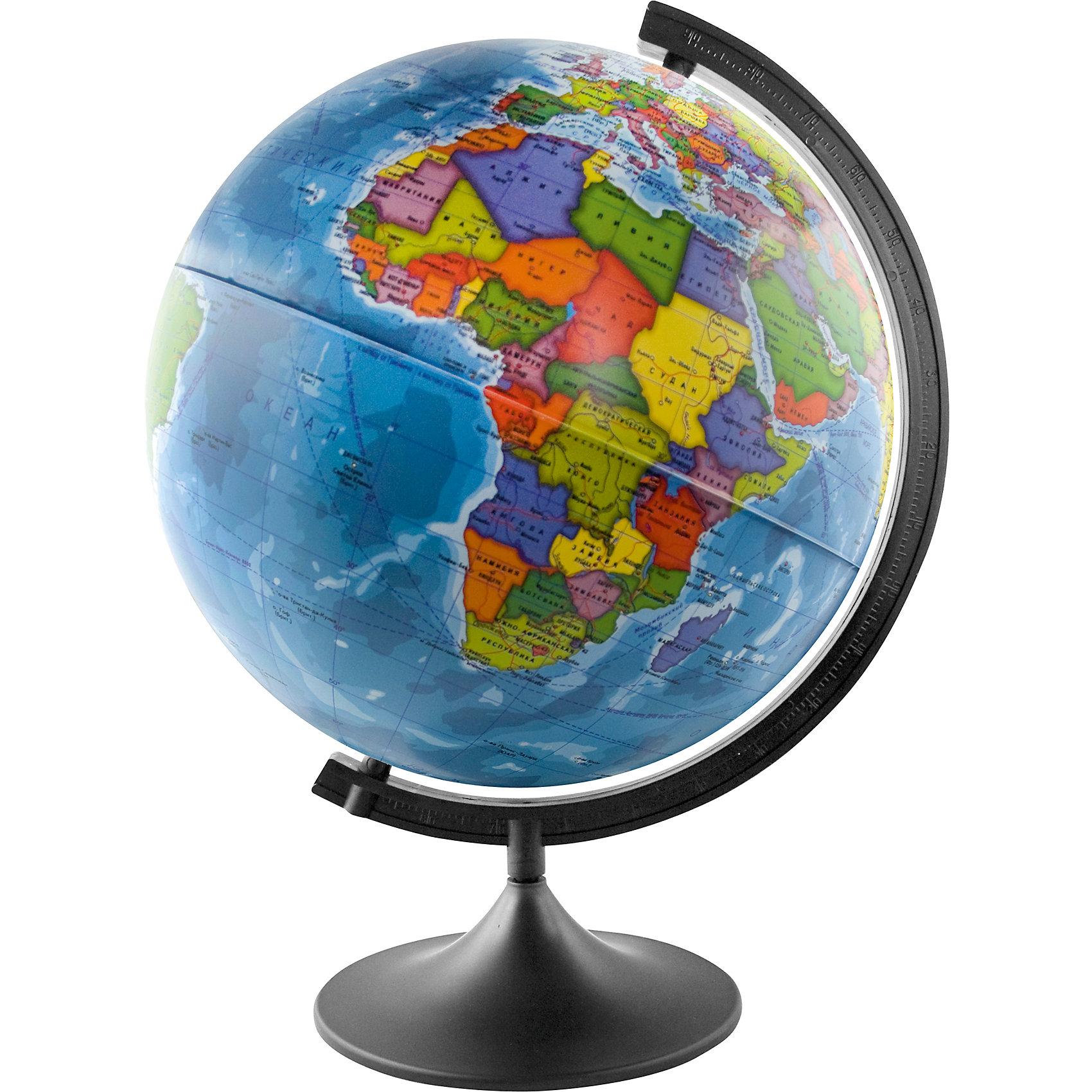 Глобус Земли политический, диаметр 400 ммПоследняя цена<br>Глобус Земли политический, д-р 400.<br><br>Характеристики:<br><br>• Для детей в возрасте: от 6 лет<br>• Диаметр: 40 см.<br>• Материал: пластик<br>• Цвет подставки и дуги: черный<br><br>Глобус Земли с современной политической картой мира (Крым в составе РФ) станет замечательным наглядным пособием для вашего ребенка. Политическая карта выполнена в ярких цветах. На карту нанесены страны, границы, столицы и крупные города, континенты, моря, океаны, реки и большие озера и другая полезная информация. Надписи выполнены на русском языке, четкие и легкочитаемые. Сфера глобуса изготовлена из прочного высококачественного пластика, поэтому она не расколется от случайного падения. Устойчивая подставка и дуга с градусными отметками выполнены из прочного высококачественного пластика черного цвета.<br><br>Глобус Земли политический, д-р 400 можно купить в нашем интернет-магазине.<br><br>Ширина мм: 420<br>Глубина мм: 400<br>Высота мм: 400<br>Вес г: 900<br>Возраст от месяцев: 72<br>Возраст до месяцев: 2147483647<br>Пол: Унисекс<br>Возраст: Детский<br>SKU: 5504477