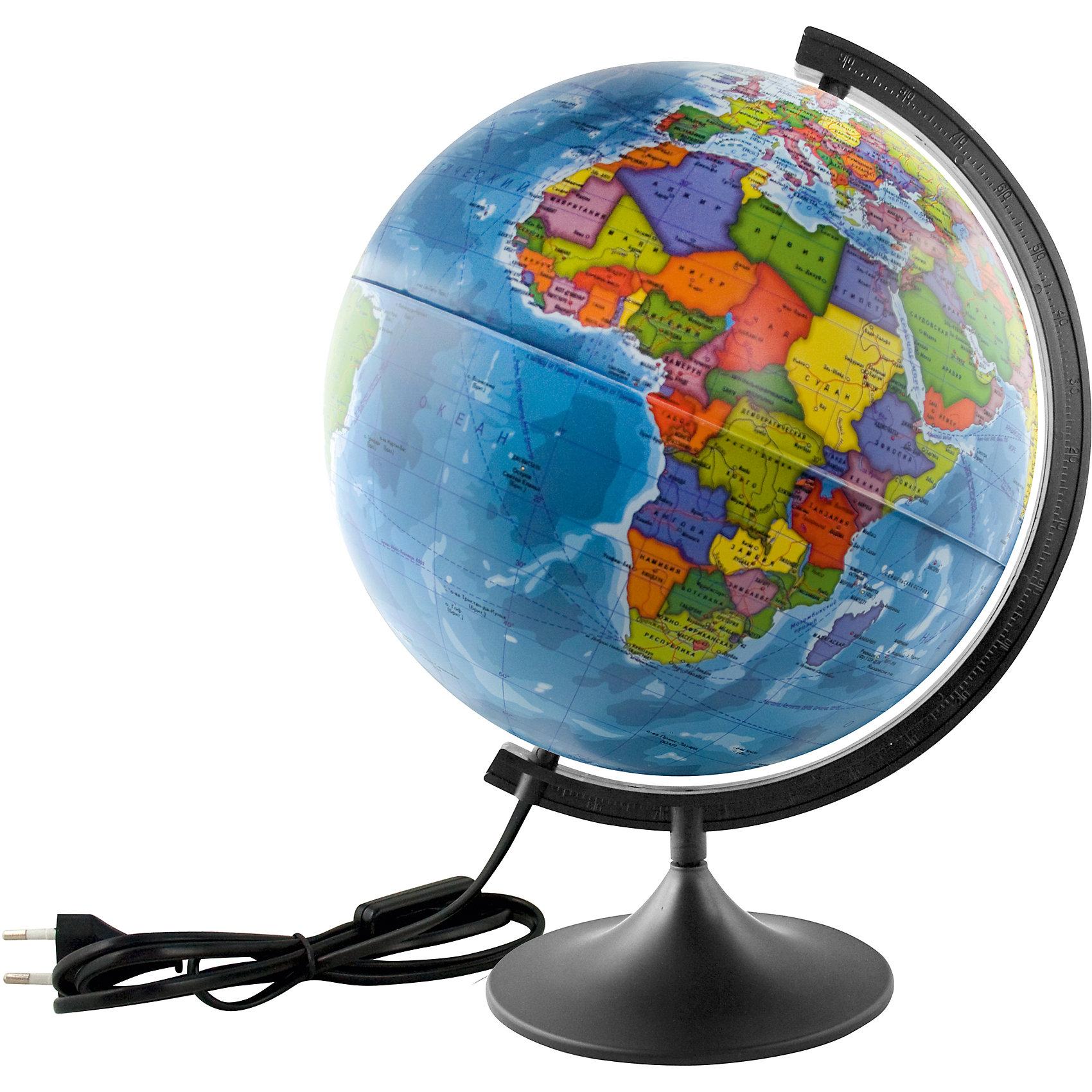 Глобус Земли политический с подсветкой, диаметр 400 ммПоследняя цена<br>Глобус Земли политический с подсветкой, д-р 400.<br><br>Характеристики:<br><br>• Для детей в возрасте: от 6 лет<br>• Диаметр: 40 см.<br>• Материал: пластик<br>• Цвет подставки и дуги: черный<br>• Подсветка работает от сети<br><br>Глобус Земли с современной политической картой мира (Крым в составе РФ) станет замечательным наглядным пособием для вашего ребенка. Политическая карта выполнена в ярких цветах. На карту нанесены страны, границы, столицы и крупные города, континенты, моря, океаны, реки и большие озера, а также другая полезная информация. Надписи выполнены на русском языке, четкие и легкочитаемые. Сфера глобуса изготовлена из прочного высококачественного пластика, поэтому она не расколется от случайного падения. Устойчивая подставка и дуга с градусными отметками выполнены из прочного высококачественного пластика черного цвета. Для усиления цветового эффекта можно включить подсветку. Подсветка работает от стационарной сети в 220 Вольт. Провод изолирован, есть переключатель.<br><br>Глобус Земли политический с подсветкой, д-р 400 можно купить в нашем интернет-магазине.<br><br>Ширина мм: 420<br>Глубина мм: 400<br>Высота мм: 400<br>Вес г: 700<br>Возраст от месяцев: 72<br>Возраст до месяцев: 2147483647<br>Пол: Унисекс<br>Возраст: Детский<br>SKU: 5504478