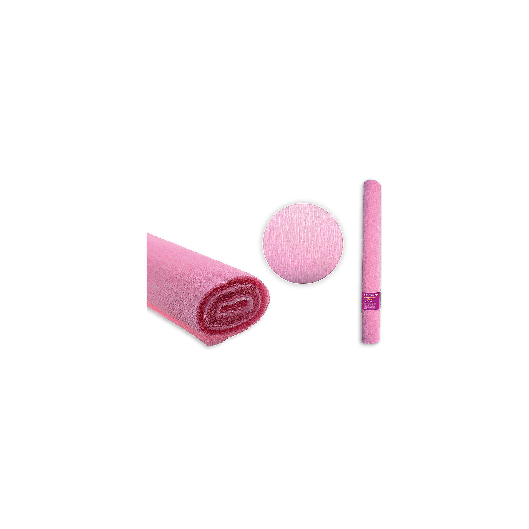 Цветная крепированная бумага 50х250 см, оттенок нежно-розовый