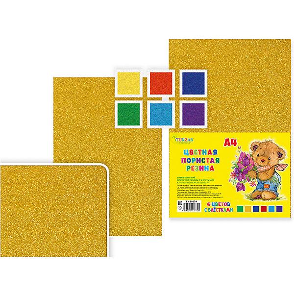 Набор цветной пористой резины с блестками, формат А4, 6 листов, 6 цв.Последняя цена<br>Набор цветной пористой резины с блестками, формат А4, 6 листов, 6 цв.<br><br>Характеристики:<br><br>• Возраст: от 6 лет<br>• Количество: 6 разноцветных листов формата А4 с блестками<br>• Толщина листа: 2 мм.<br>• Цвета: красный, желтый, синий, зеленый, голубой, фиолетовый<br><br>Цветная пористая резина (пена EVA) с блестками ярких насыщенных цветов в листах формата А4 предназначена для создания творческих поделок и объемных аппликаций дома, в школе или в детском саду. Пористая резина - приятная на ощупь, гибкая. Работать с ней просто и удобно, она режется ножницами, легко принимает нужную форму.<br><br>Набор цветной пористой резины с блестками, формат А4, 6 листов, 6 цв. можно купить в нашем интернет-магазине.<br><br>Ширина мм: 330<br>Глубина мм: 8<br>Высота мм: 210<br>Вес г: 143<br>Возраст от месяцев: 72<br>Возраст до месяцев: 2147483647<br>Пол: Унисекс<br>Возраст: Детский<br>SKU: 5504497