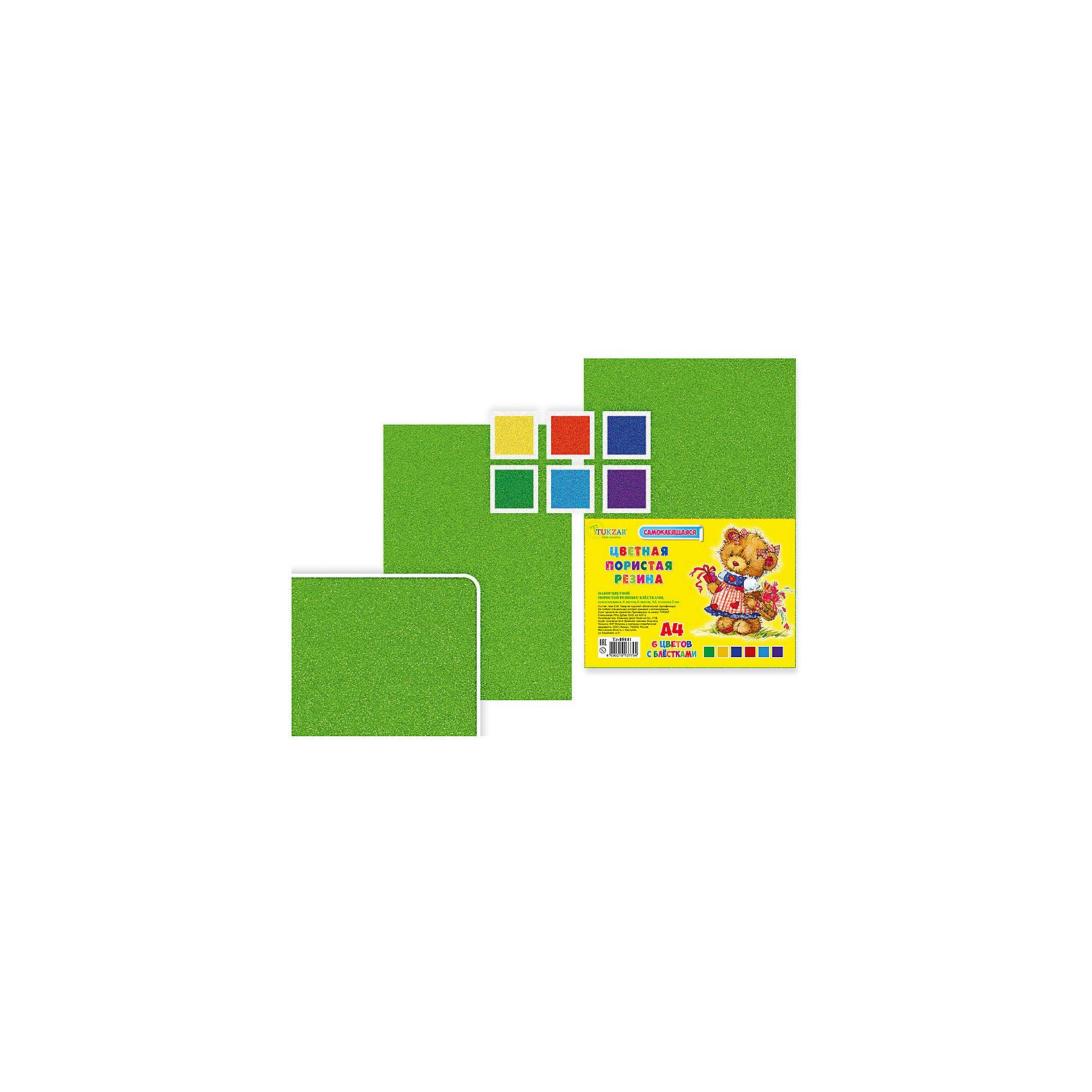 Набор цветной самоклеящейся пористой резины EVA (ЭВА) с блесткамиПоследняя цена<br>Набор цветной самоклеящейся пористой резины EVA (ЭВА) с блестками.<br><br>Характеристики:<br><br>• Возраст: от 6 лет<br>• Количество: 6 разноцветных листов с блестками формата А4 с клейким слоем с одной стороны<br>• Толщина листа: 2 мм.<br>• Цвета: красный, желтый, синий, зеленый, голубой, фиолетовый<br><br>Цветная пористая резина (пена EVA) с блестками ярких насыщенных цветов в листах формата А4 предназначена для создания творческих поделок и объемных аппликаций дома, в школе или в детском саду. Листы покрыты прочным клейким слоем с одной стороны. Пористая резина - приятная на ощупь, гибкая. Работать с ней просто и удобно, она режется ножницами, легко принимает нужную форму и приклеивается на ровную поверхность.<br><br>Набор цветной самоклеящейся пористой резины EVA (ЭВА) с блестками можно купить в нашем интернет-магазине.<br><br>Ширина мм: 330<br>Глубина мм: 8<br>Высота мм: 210<br>Вес г: 146<br>Возраст от месяцев: 72<br>Возраст до месяцев: 2147483647<br>Пол: Унисекс<br>Возраст: Детский<br>SKU: 5504499
