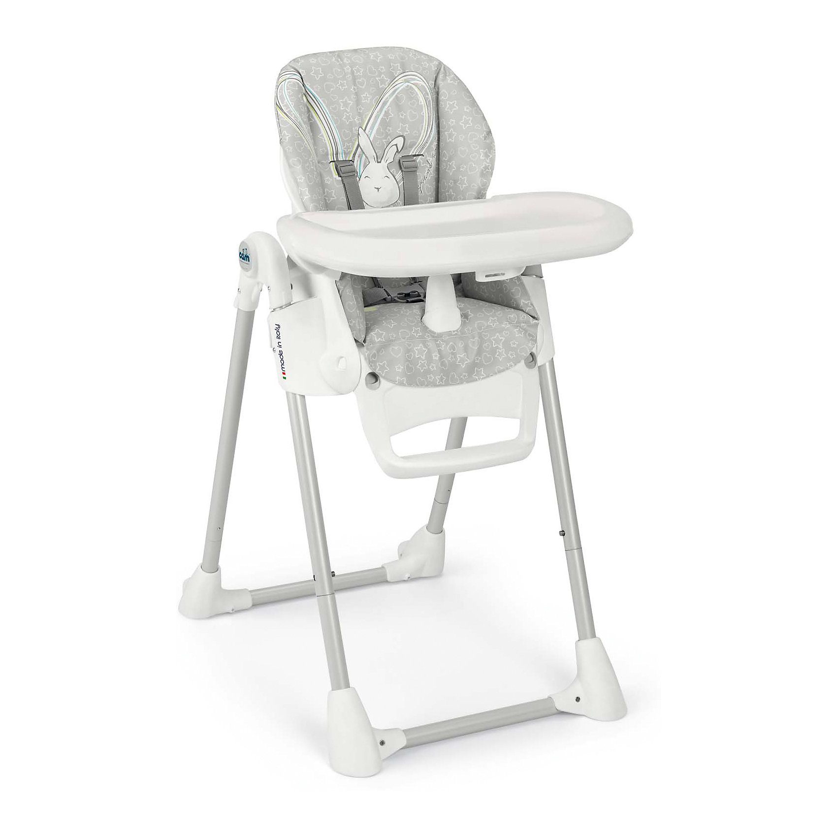 Стульчик для кормления Pappananna Зайчик, CAM, серыйСтульчики для кормления<br>Характеристики:<br><br>• изменяется высота сиденья, 8 положений;<br>• угол наклона спинки регулируется, 4 положения, включая положение «лежа»;<br>• регулируемая подножка;<br>• система 5-ти точечных ремней безопасности надежно удерживает ребенка;<br>• пластиковый ограничитель между ножек не позволяет ребенку «съехать» или соскользнуть вниз;<br>• стульчик оснащен съемным столиком для кормления;<br>• имеется также дополнительный поднос с углублениями для посуды;<br>• поднос можно снять и оставить только столик с ровной поверхностью;<br>• на нижнем основании стульчика находятся пластиковые накладки, которые обеспечивают устойчивость конструкции;<br>• задние ножки оснащены колесиками;<br>• стульчик компактно складывается, устойчиво стоит в вертикальном положении;<br>• материал: алюминий, пластик, полиэстер, эко-кожа.<br><br>Размеры:<br><br>• размер стульчика для кормления: 55х76х106 см;<br>• размер стульчика в сложенном виде: 55х31х89 см;<br>• вес стульчика: 8,9 кг;<br>• размер упаковки: 62,7х30,7х98 см;<br>• вес в упаковке: 12,2 кг.<br><br>Функциональный стульчик-трансформер Pappananna используется с первых дней жизни малыша благодаря раскладывающейся почти до горизонтального положения спинке. В таком положении ребенок может находиться рядом с взрослыми в часы приема ими пищи. Стульчик регулируется по высоте, которая может быть изменена в зависимости от роста ребенка. Стульчик без столика удобно приставить к общему столу, когда ребенок подрастет. <br><br>Стульчик для кормления Pappananna Зайчик, CAM, серый можно купить в нашем интернет-магазине.<br><br>Ширина мм: 627<br>Глубина мм: 307<br>Высота мм: 980<br>Вес г: 12200<br>Возраст от месяцев: 0<br>Возраст до месяцев: 36<br>Пол: Унисекс<br>Возраст: Детский<br>SKU: 5504509