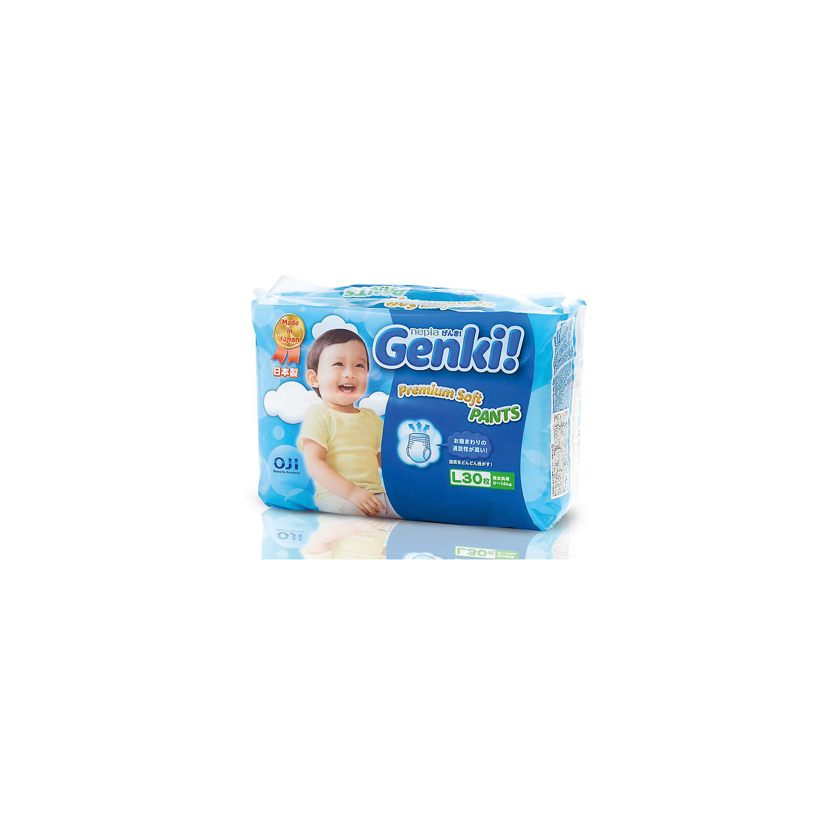 Трусики Nepia Genki,9-14 кг., размер L, 30 шт., GenkiТрусики-подгузники<br>Характеристики:<br><br>• вес ребенка: 9-14 кг;<br>• размер: L;<br>• дышащая поверхность внешней и внутренней стороны;<br>• эластичный поясок;<br>• индикатор влаги находится снаружи;<br>• материал: мягкий хлопок, натуральный каучук;<br>• количество в упаковке: 30 шт.<br><br>Японские дышащие гипоаллергенные трусики Genki подходят для чувствительной кожи. Эластичный поясок не сдавливает животик. Индикаторы наполнения позволяют маме контролировать наполненность трусиков, не расстегивая липучки. Когда желтый цвет меняется на синий, это сигнализирует о наполненности трусиков следовательно, их пора менять. Трусики используются для сна, длительных прогулок, во время поездок. <br><br>Трусики Nepia Genki, 9-14 кг., размер L, 30 шт., Genki можно купить в нашем интернет-магазине.<br><br>Ширина мм: 150<br>Глубина мм: 320<br>Высота мм: 200<br>Вес г: 902<br>Возраст от месяцев: 6<br>Возраст до месяцев: 24<br>Пол: Унисекс<br>Возраст: Детский<br>SKU: 5504699