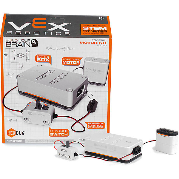 Игровой набор VEX Motor, HexbugИнтерактивные животные<br>Игровой набор VEX Motor, Hexbug (Хексбаг)<br><br>Характеристики:<br><br>• для конструкторов Vex<br>• материал: пластик, металл<br>• размер упаковки: 28х23х7 см<br>• вес: 255 грамм<br>• батарейки: С/LR14<br><br>Игровой набор VEX Motor предназначен для питания моделей конструкторов VEX. Набор работает от батареек C/LR14. Блок имеет переключатель включения/выключения. Изготовлен из пластика и металла.<br><br>Игровой набор VEX Motor, Hexbug (Хексбаг) вы можете купить в нашем интернет-магазине.<br><br>Ширина мм: 270<br>Глубина мм: 60<br>Высота мм: 260<br>Вес г: 253<br>Возраст от месяцев: 36<br>Возраст до месяцев: 2147483647<br>Пол: Унисекс<br>Возраст: Детский<br>SKU: 5506931