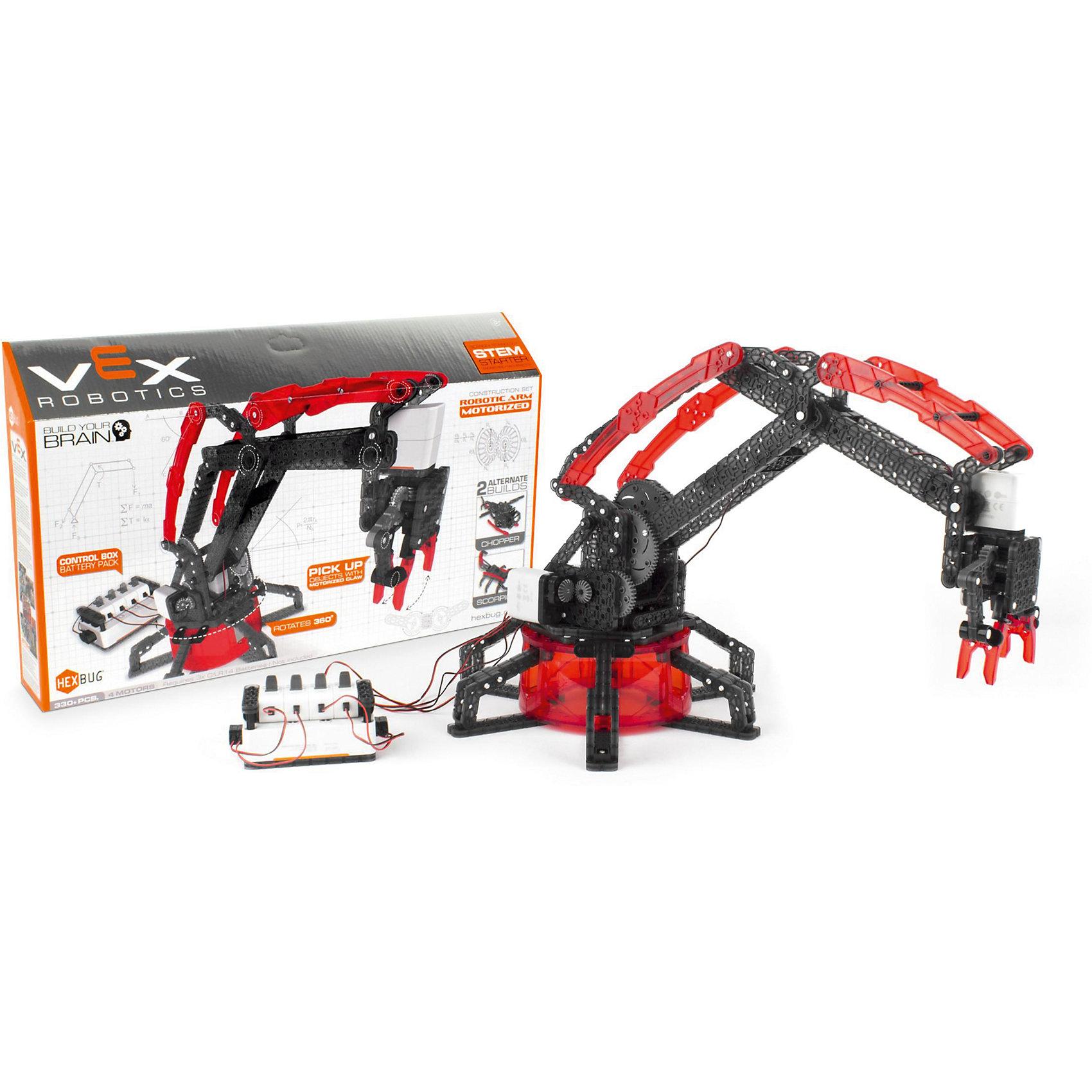 Конструктор VEX Robotic Arm-Motorized, HexbugПластмассовые конструкторы<br>Конструктор VEX Robotic Arm-Motorized, Hexbug (Хексбаг)<br><br>Характеристики:<br><br>• моторизированная модель манипулятора робота<br>• может передвигать предметы<br>• 4 мотора<br>• количество элементов: 330<br>• материал: пластик, металл<br><br>Конструктор VEX Robotic Arm-Motorized наглядно познакомит ребенка с основами механики. Из 330 деталей вы сможете собрать моторизированную модель манипулятора робота. Управляя роботом, вы сможете поднять и переместить небольшие предметы. Конструктор собирается вручную, без применения инструментов и клея. С такой увлекательной игрушкой ребенок никогда не заскучает!<br><br>Конструктор VEX Robotic Arm-Motorized, Hexbug (Хексбаг) можно купить в нашем интернет-магазине.<br><br>Ширина мм: 270<br>Глубина мм: 60<br>Высота мм: 460<br>Вес г: 1650<br>Возраст от месяцев: 36<br>Возраст до месяцев: 2147483647<br>Пол: Унисекс<br>Возраст: Детский<br>SKU: 5506932