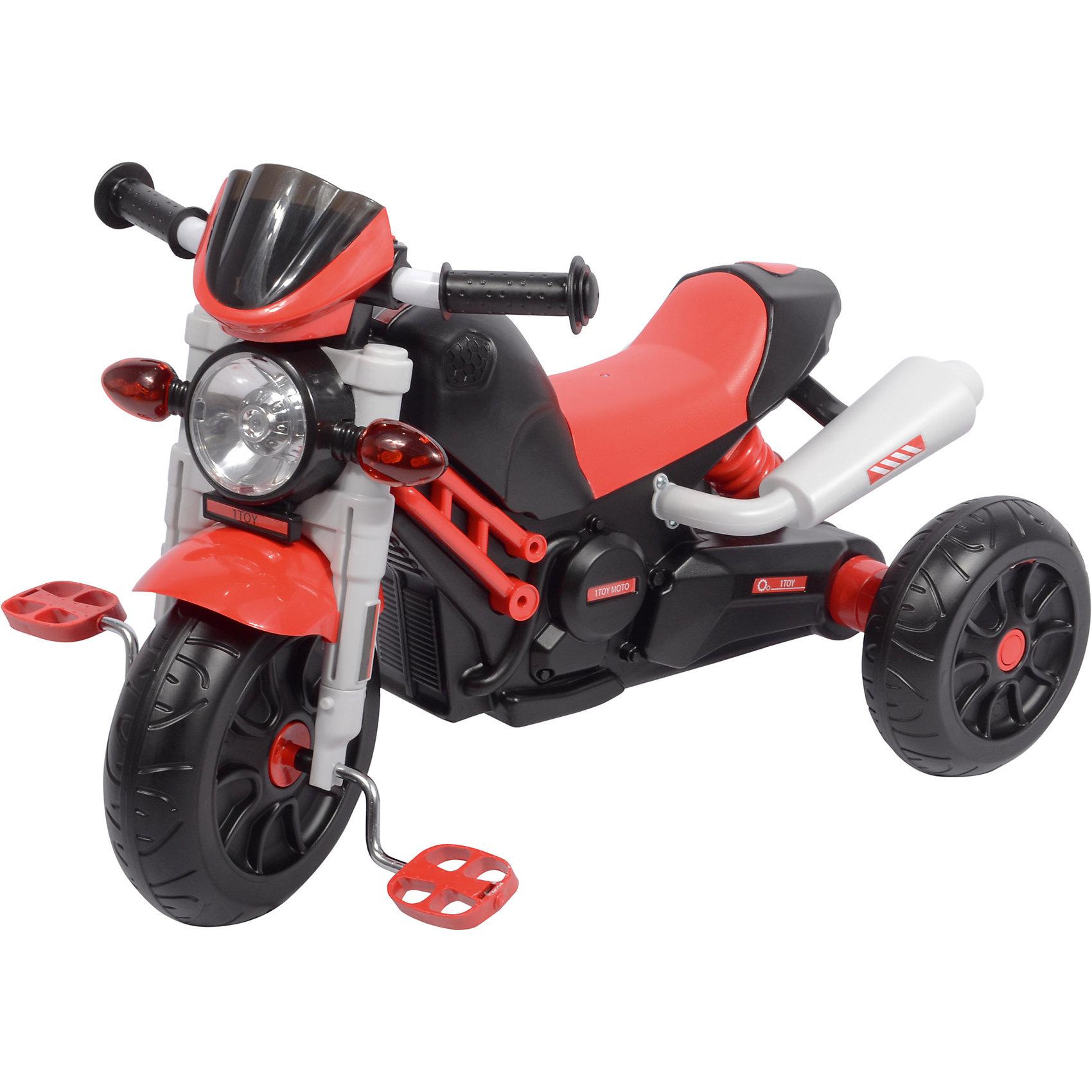 Трехколлесный велосипед Мотоцикл, красный, 1toyВелосипеды детские<br>Трехколлесный велосипед Мотоцикл, красный, 1toy.<br><br>Характеристики:<br><br>• Для детей в возрасте: от 3 до 5 лет<br>• Максимальная нагрузка: 30 кг.<br>• Материал: пластик, металл<br>• Цвет: красный, черный<br>• Музыкальный чип<br>• Со светом<br>• Требуются батарейки<br>• Диаметр переднего колеса: 25,5 см.<br>• Диаметр заднего колеса: 20,5 см.<br>• Размер упаковки: 68x24x38 см.<br>• Вес: 5,4 кг.<br><br>Трехколесный велосипед, стилизованный под настоящий мотоцикл привлечет внимание малышей. Удобное сиденье имеет анатомическую форму. Разновеликие колеса позволят с легкостью преодолевать небольшие препятствия. Специально для юных мотоциклистов на корпусе изделия предусмотрены реалистичные фары и имитация выхлопной трубы. Имеются световые и звуковые эффекты.<br><br>Трехколесный велосипед Мотоцикл, красный, 1toy можно купить в нашем интернет-магазине.<br><br>Ширина мм: 680<br>Глубина мм: 380<br>Высота мм: 240<br>Вес г: 5400<br>Возраст от месяцев: 36<br>Возраст до месяцев: 60<br>Пол: Унисекс<br>Возраст: Детский<br>SKU: 5506938